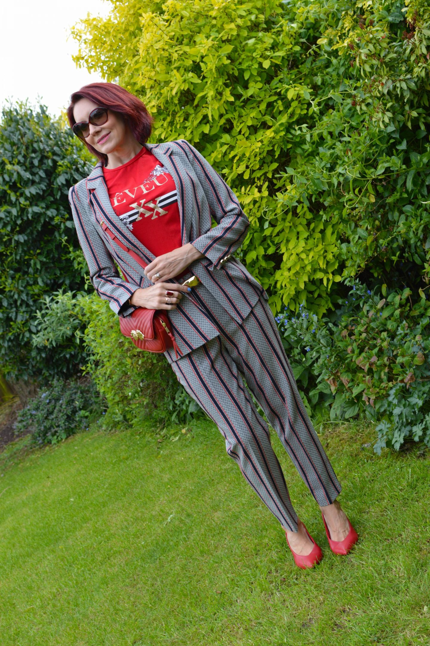 River Island trouser suit and casual T-shirt, Zara crossbody bag