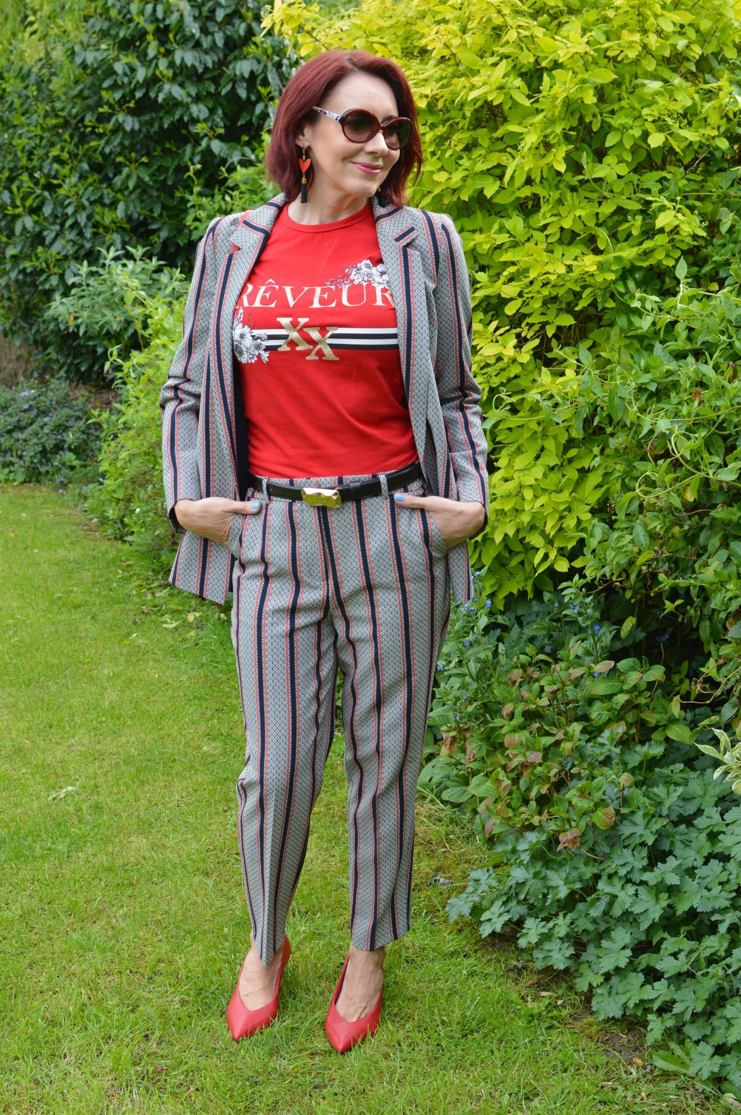 River Island trouser suit and casual T-shirt