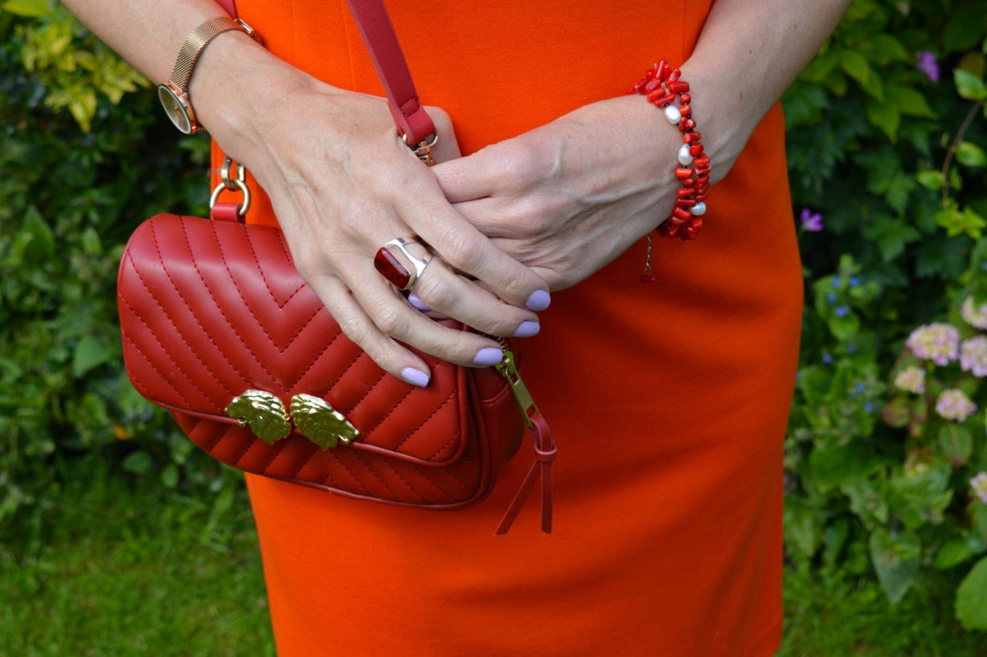 Zara red quilted crossbody bag
