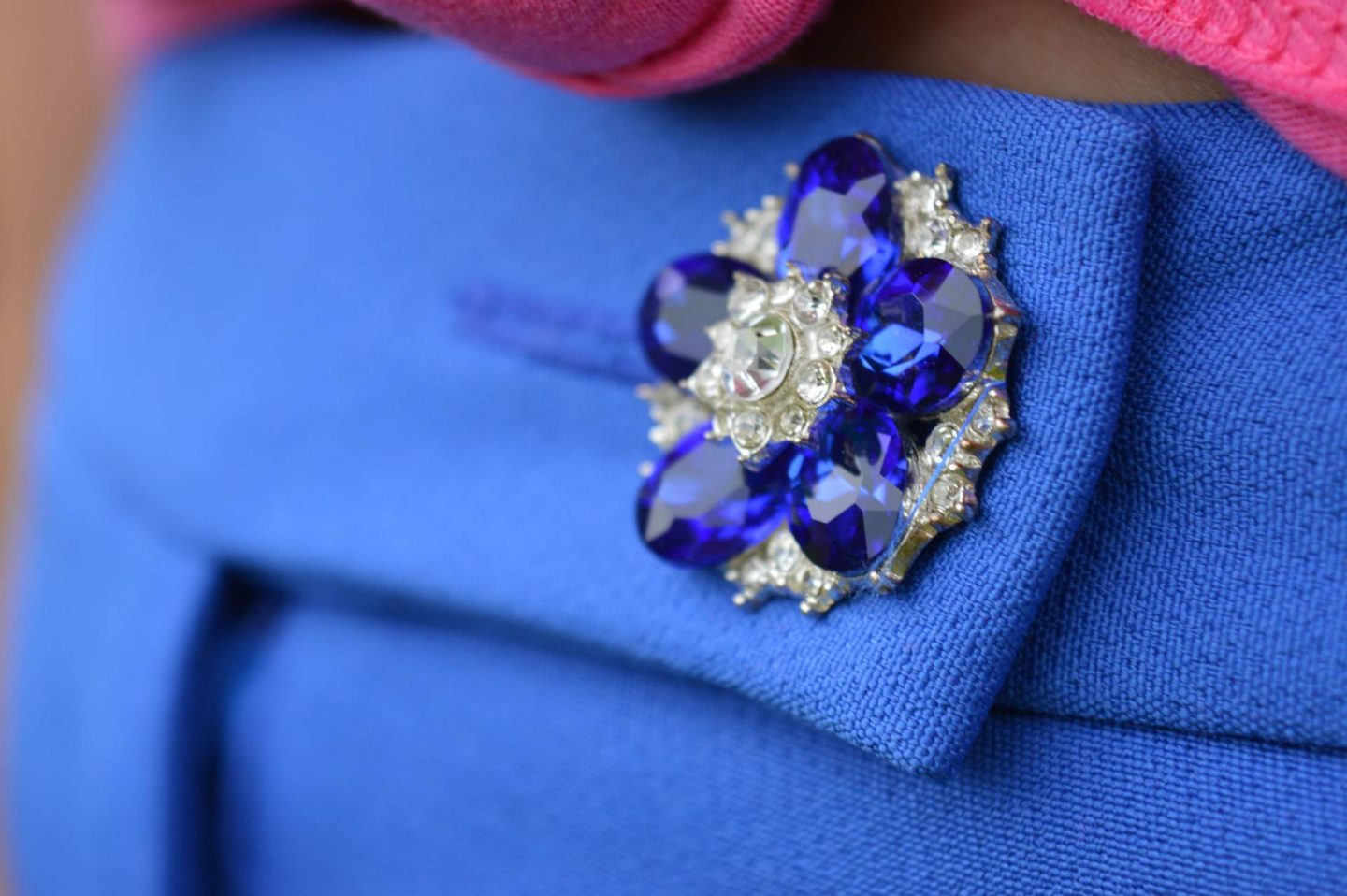 River Island blue frill trousers jewelled button