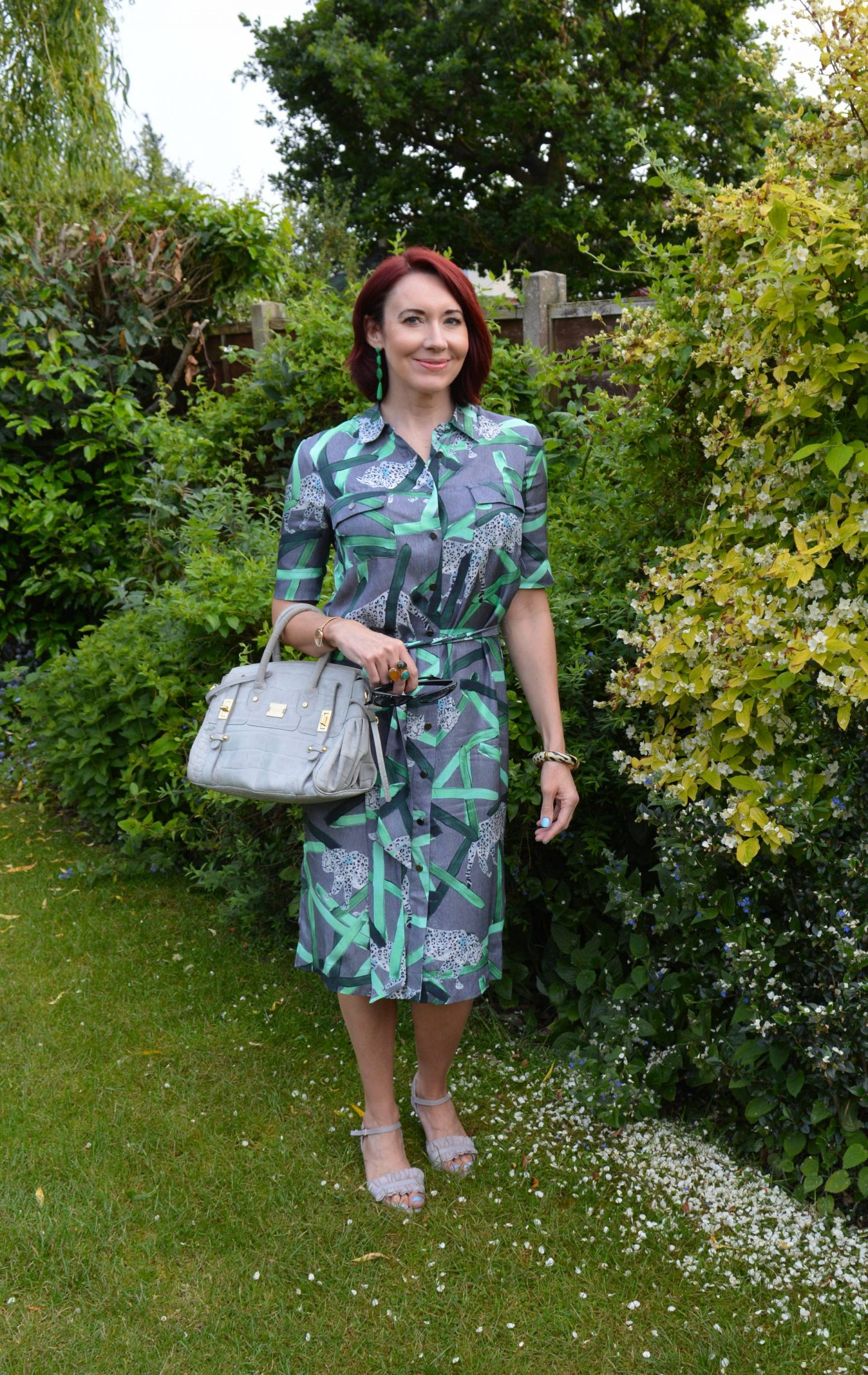 Finery Grey Shirt Dress, Modalu grey bag, Calla Florence sandals