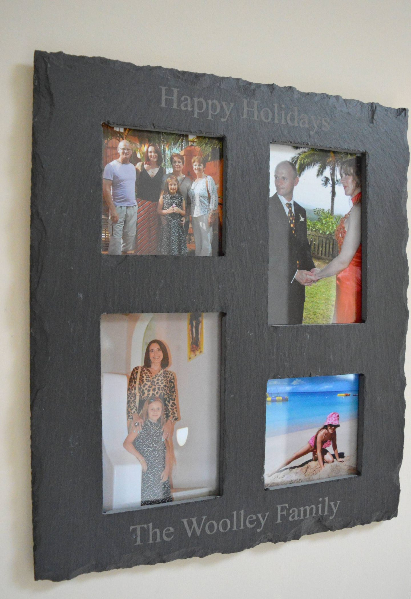 Capturing Wonderful Holiday Memories, The Gift Experience persoanlised slate phot frame