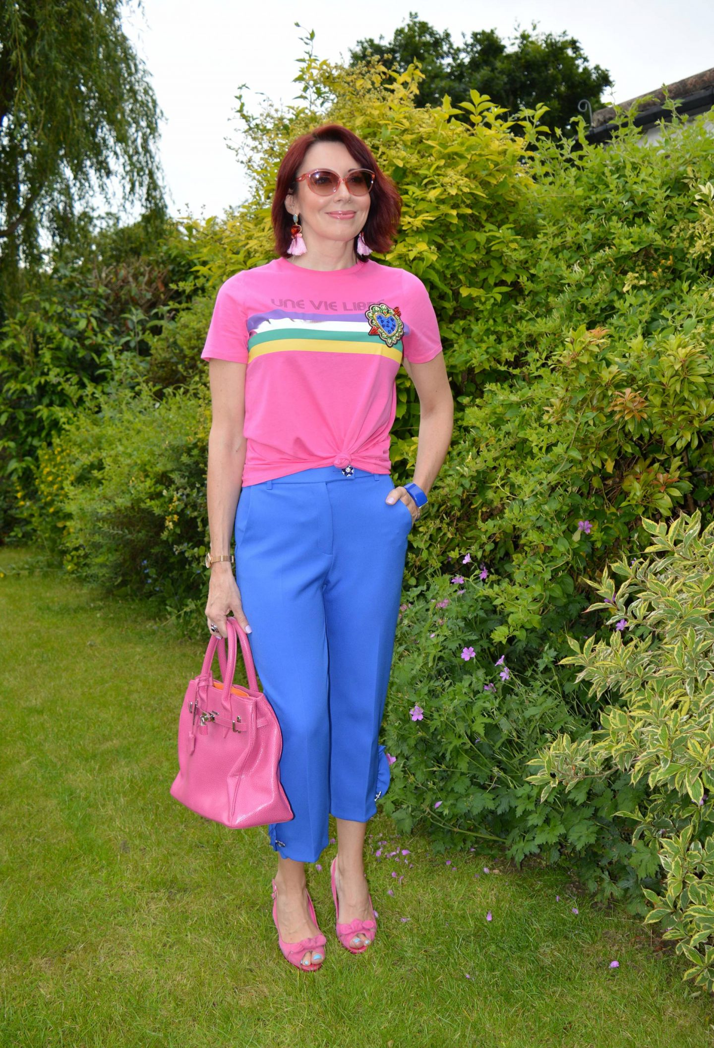 Pink graphic Tee and Blue Frill Trousers, Stylish Monday link up