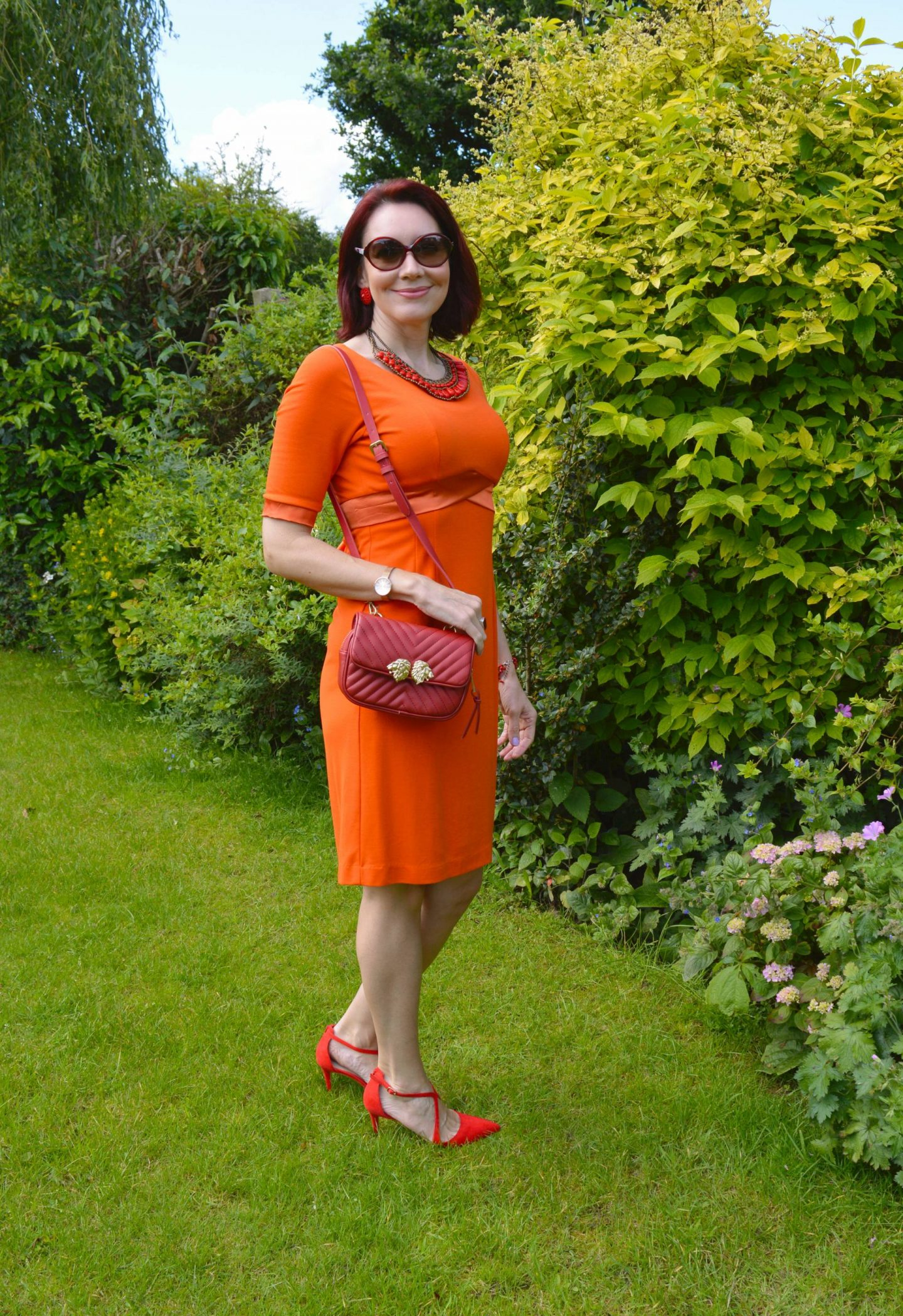 Style Not Age: Flaming June, Fever orange jersey dress, Mikey red beaded bib necklace