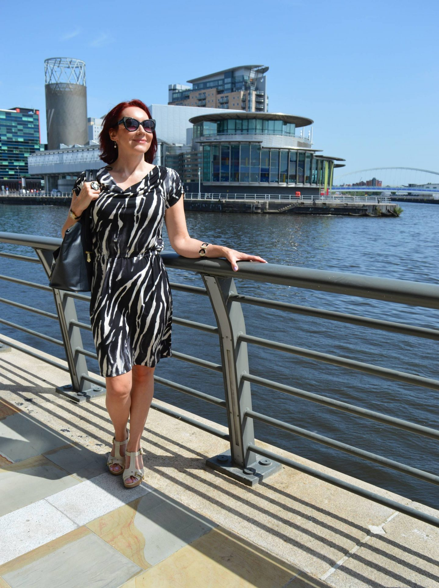 Zebra Print Dress With Black and White Accessories