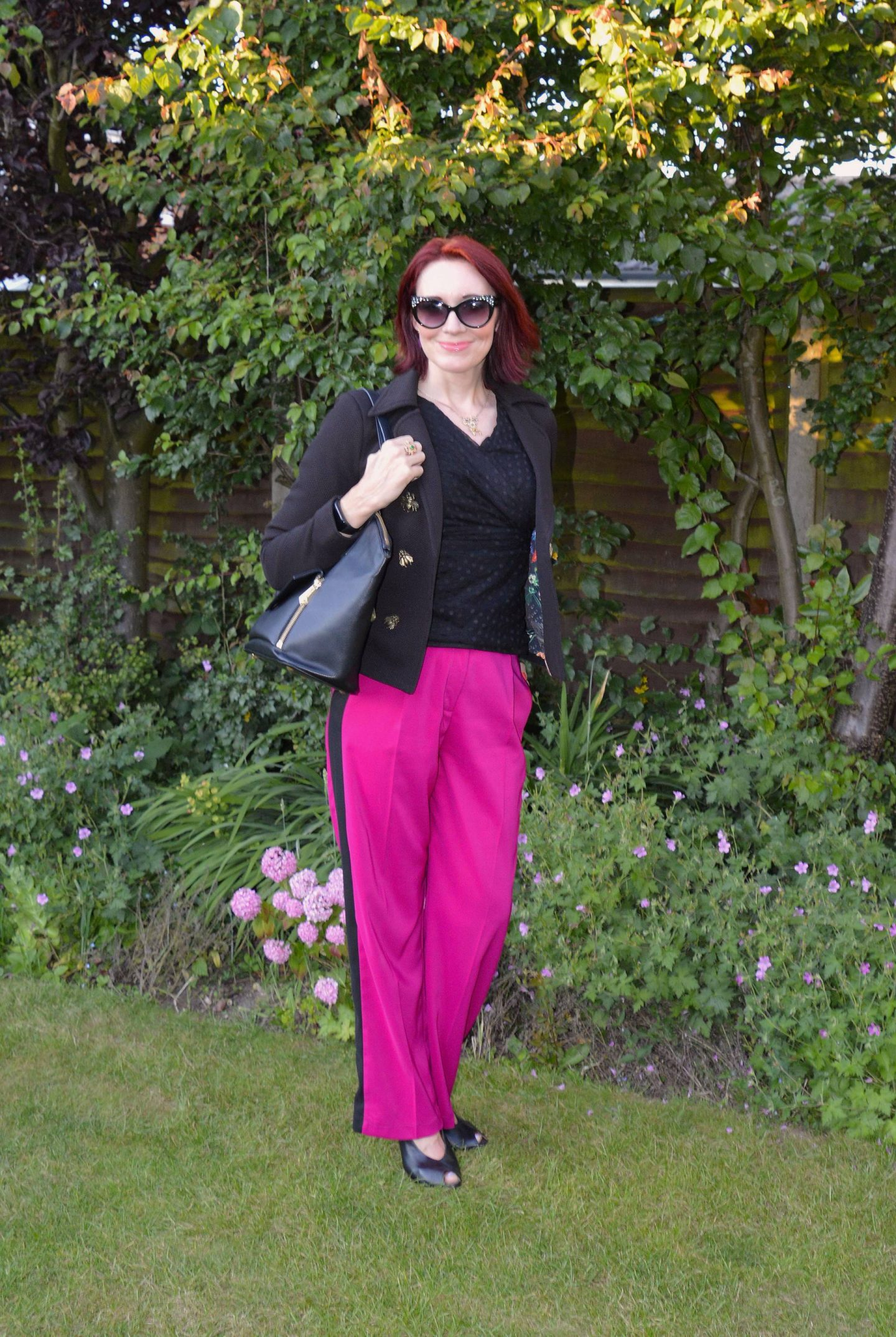 Pom Amsterdam Bugs Jacket and Finery Side Stripe Trousers, Jennifer Hamley vegan leather bag