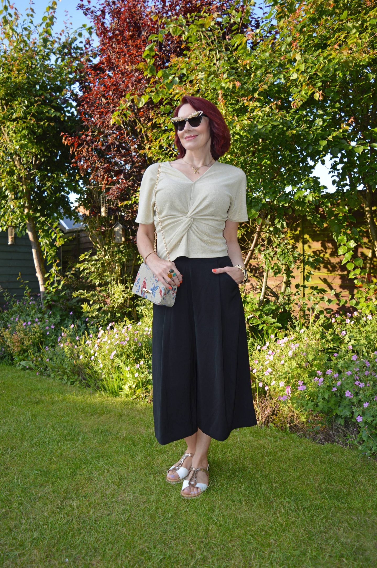 Marks and Spencer Gold Twist Top and Black Culottes
