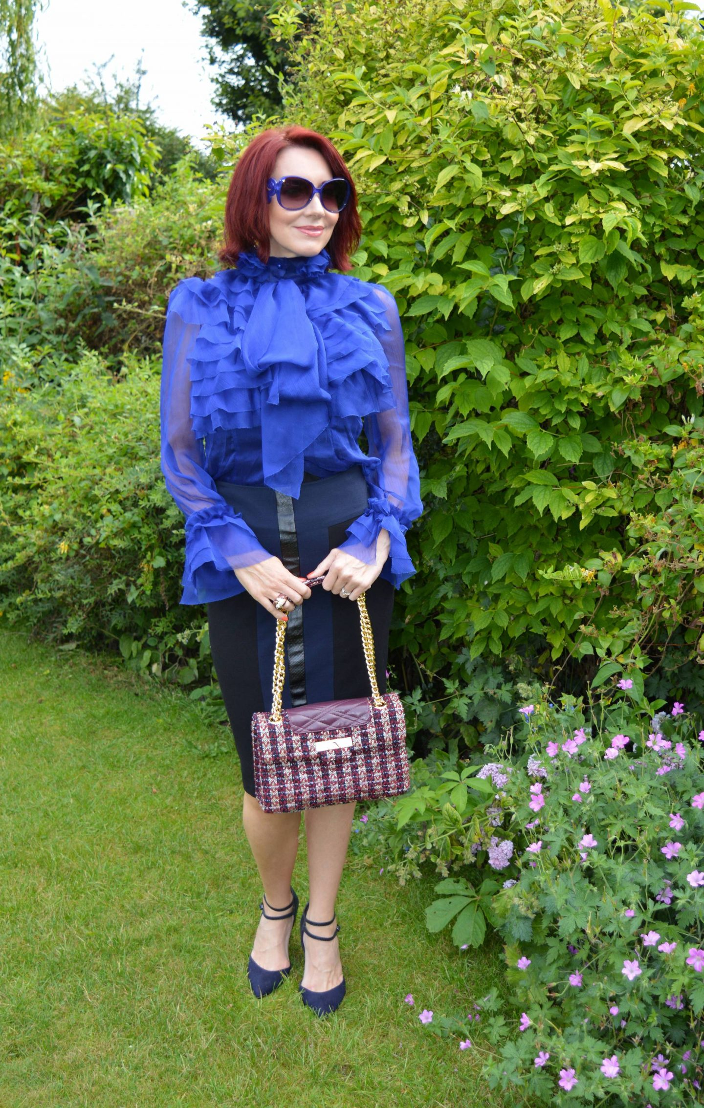 Girls on Film Lesa Blue sheer pussy bow blouse and Mary Portas pencil skirt