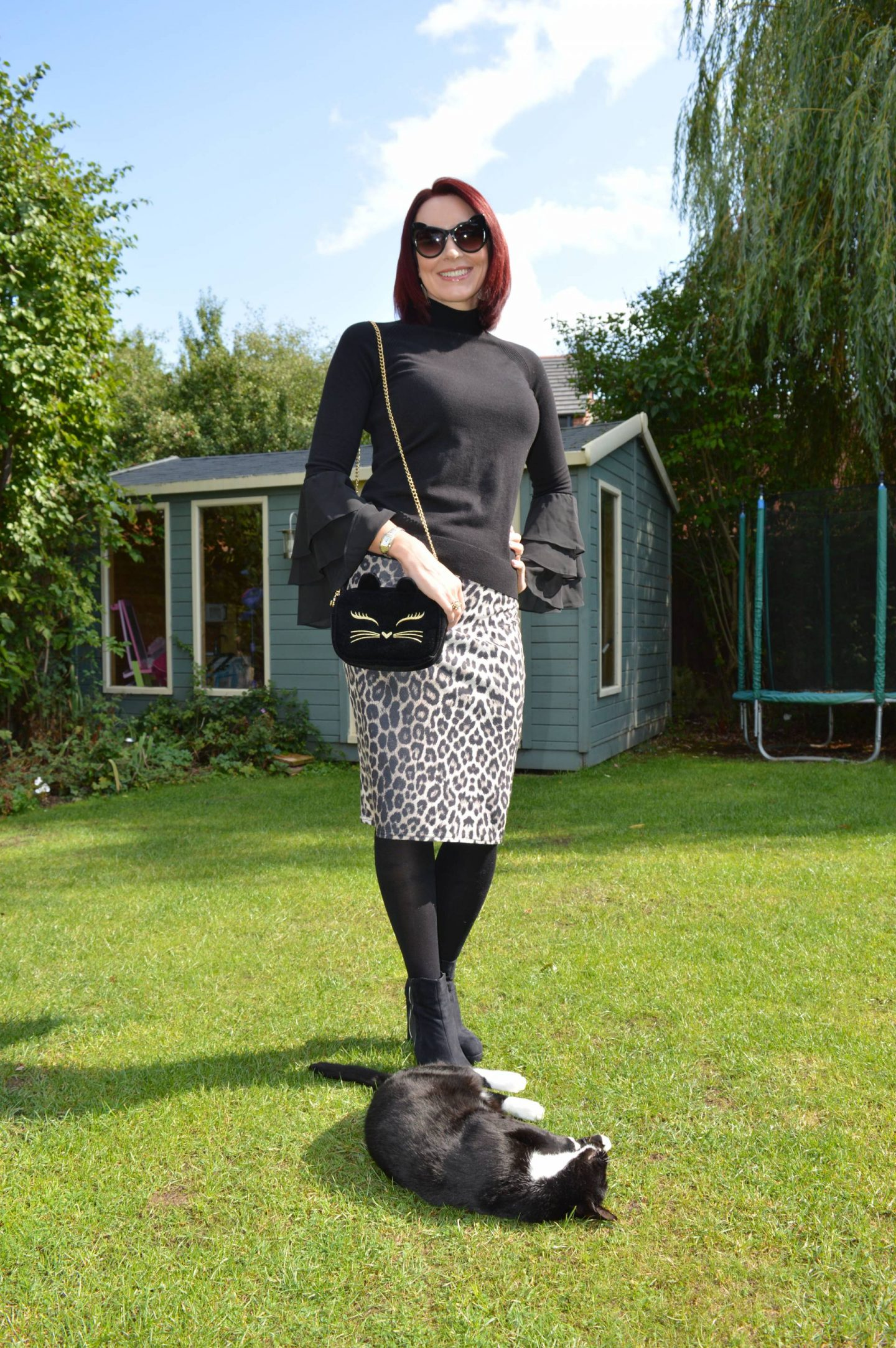 leopard print pencil skirt, Asos velvet cat bag