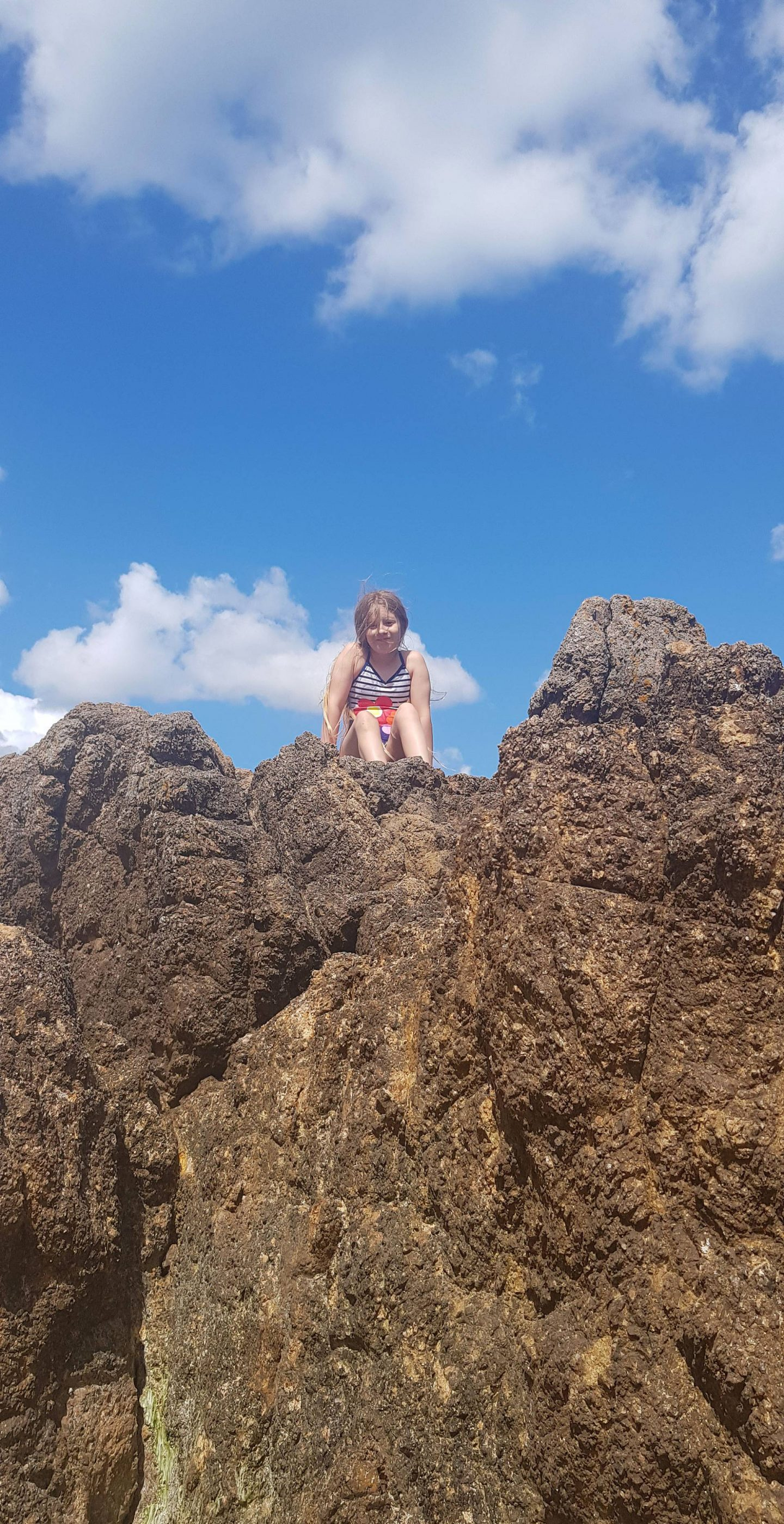 Summer Trip to Brittany, Isobel on the rocks