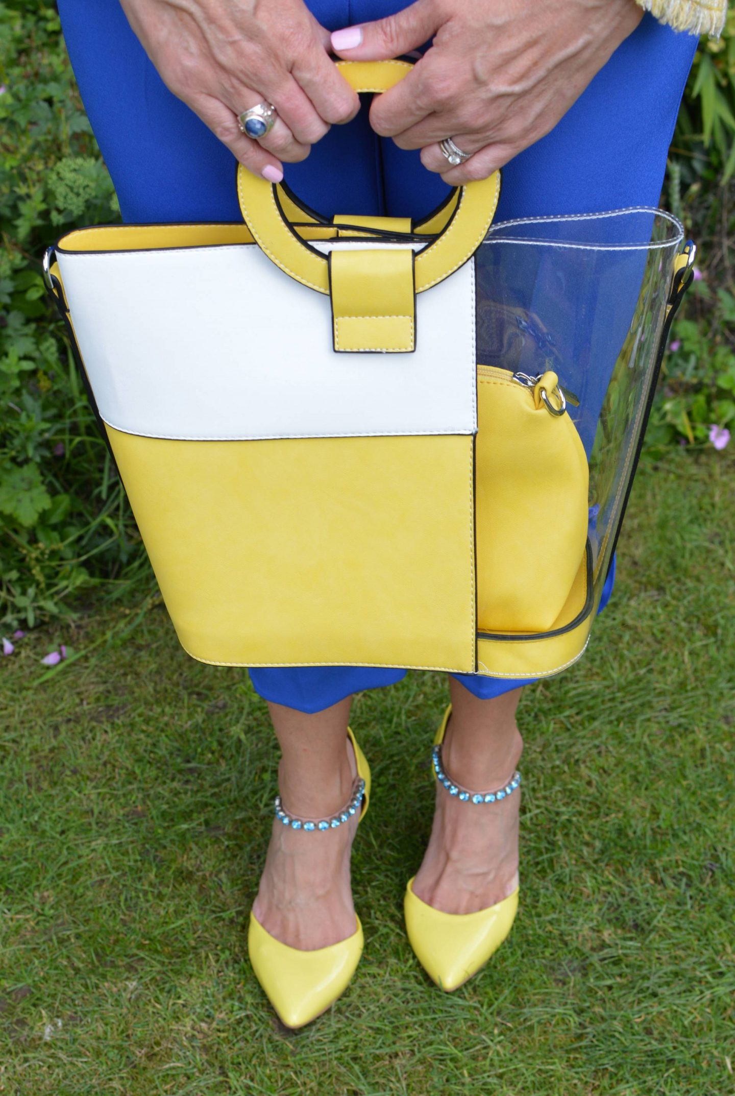 Carvela jewel strap shoes, yellow and white bag