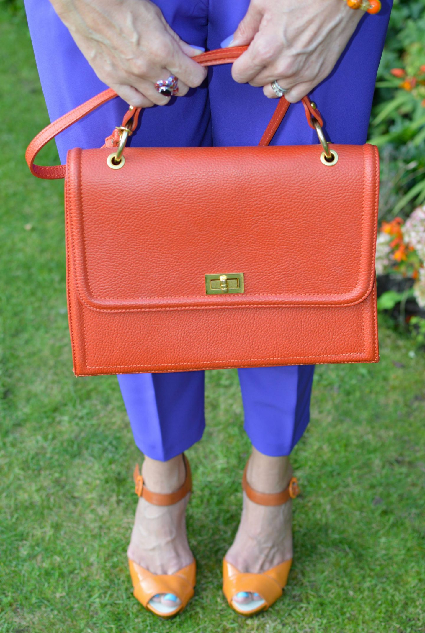 Style Not Age: Purple Reign, orange Alexia bag, orange patent Miss Sixty sandals