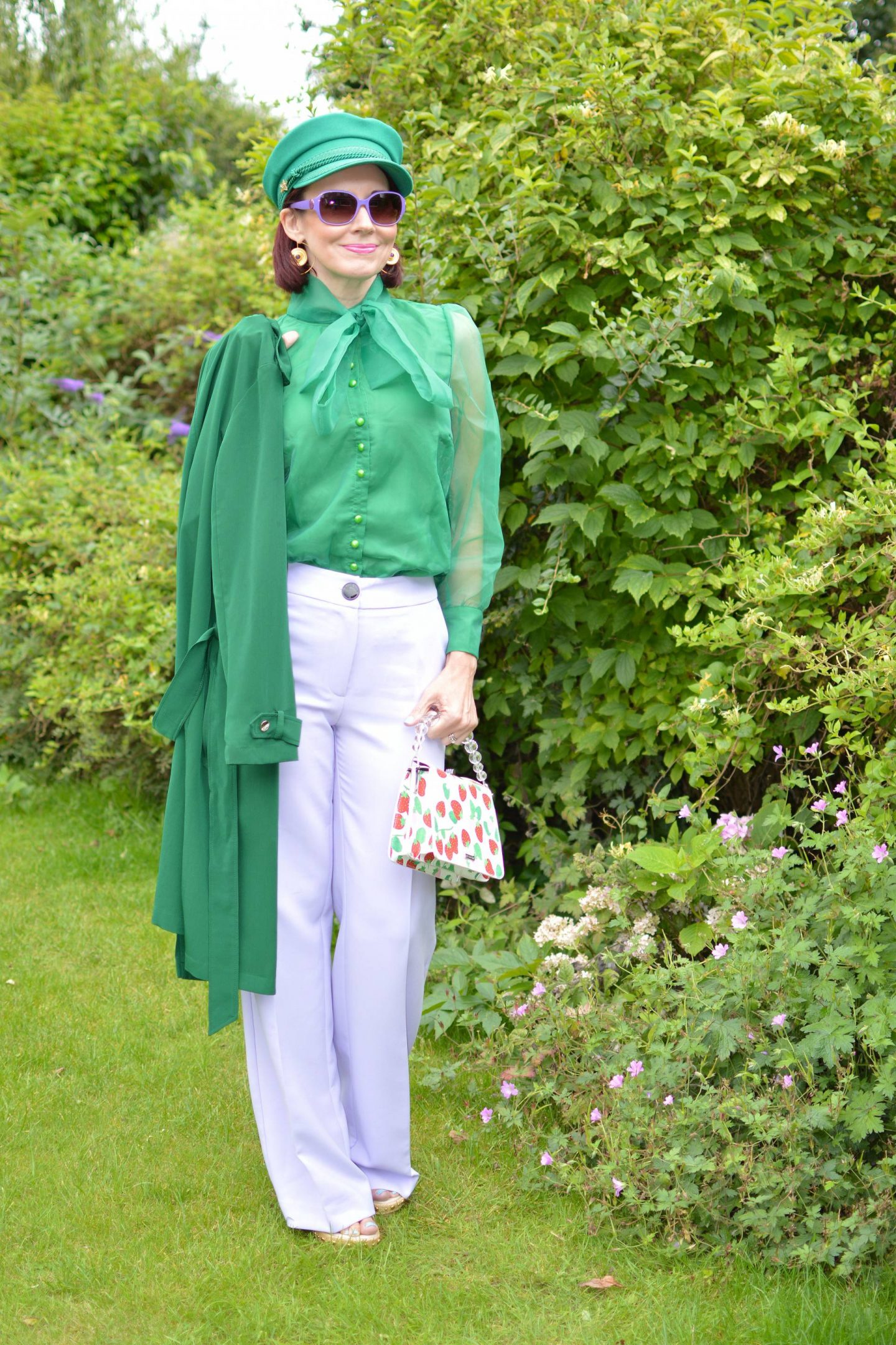 Green Organza Bow Blouse and Lilac Trousers, Fabienne Chapot green hat