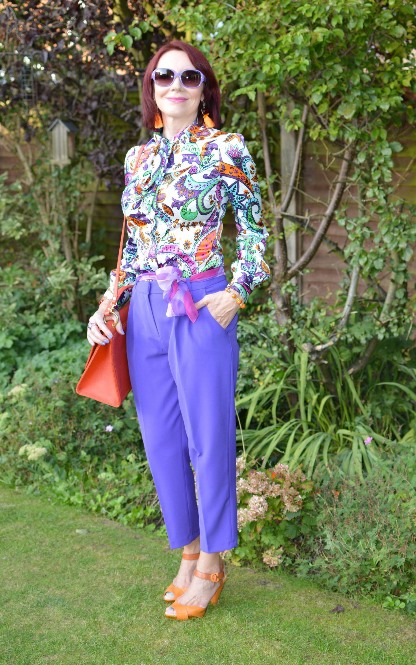 Style Not Age: Purple Reign, Hawes and Curtis blouse, Asos purple trousers