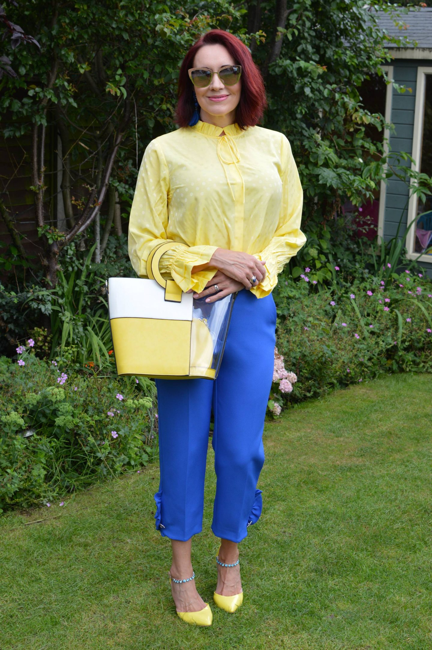 Yellow Second Femal Mardi blouse and Blue Frill Trousers