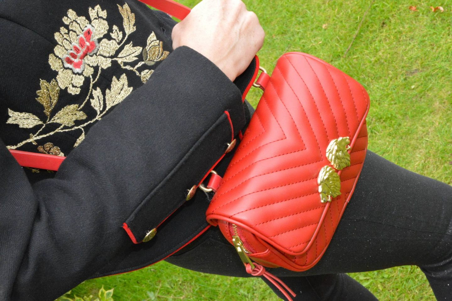 Zara embroidered military jacket, Zara red quilted crossbody