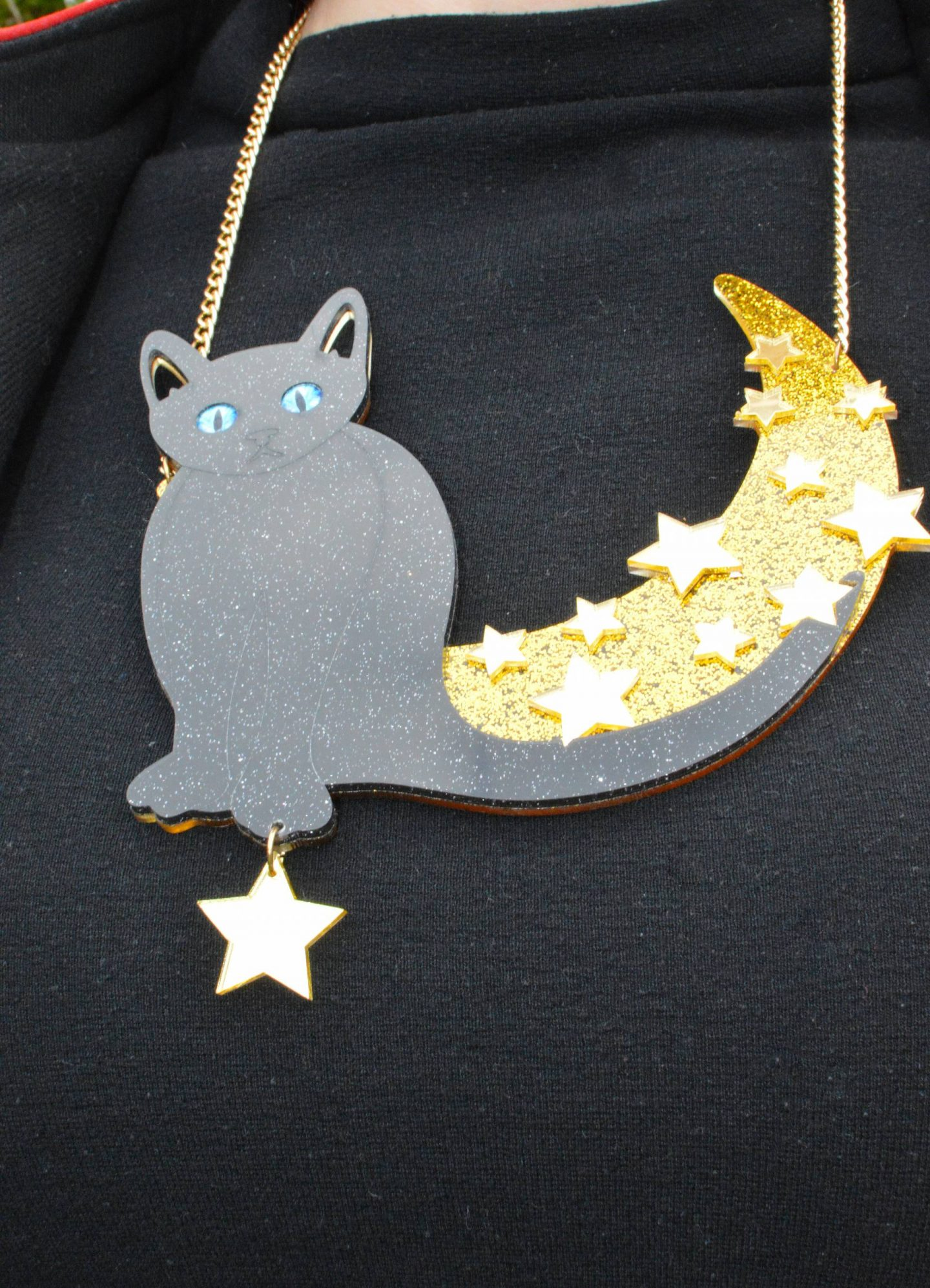 acrylic cat and moon necklace