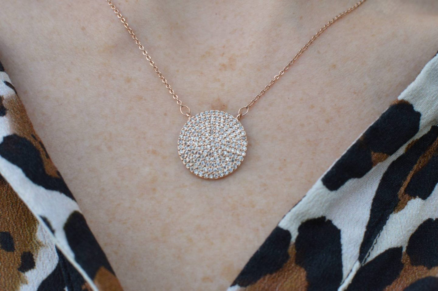 rose gold diamante disc necklace