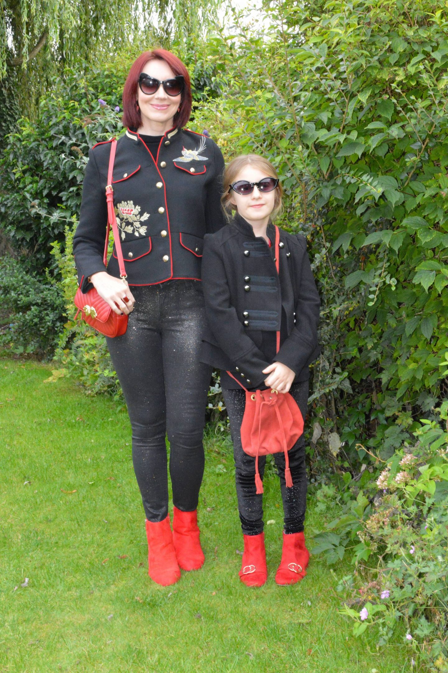 Military Jackets and Red Ankle Boots