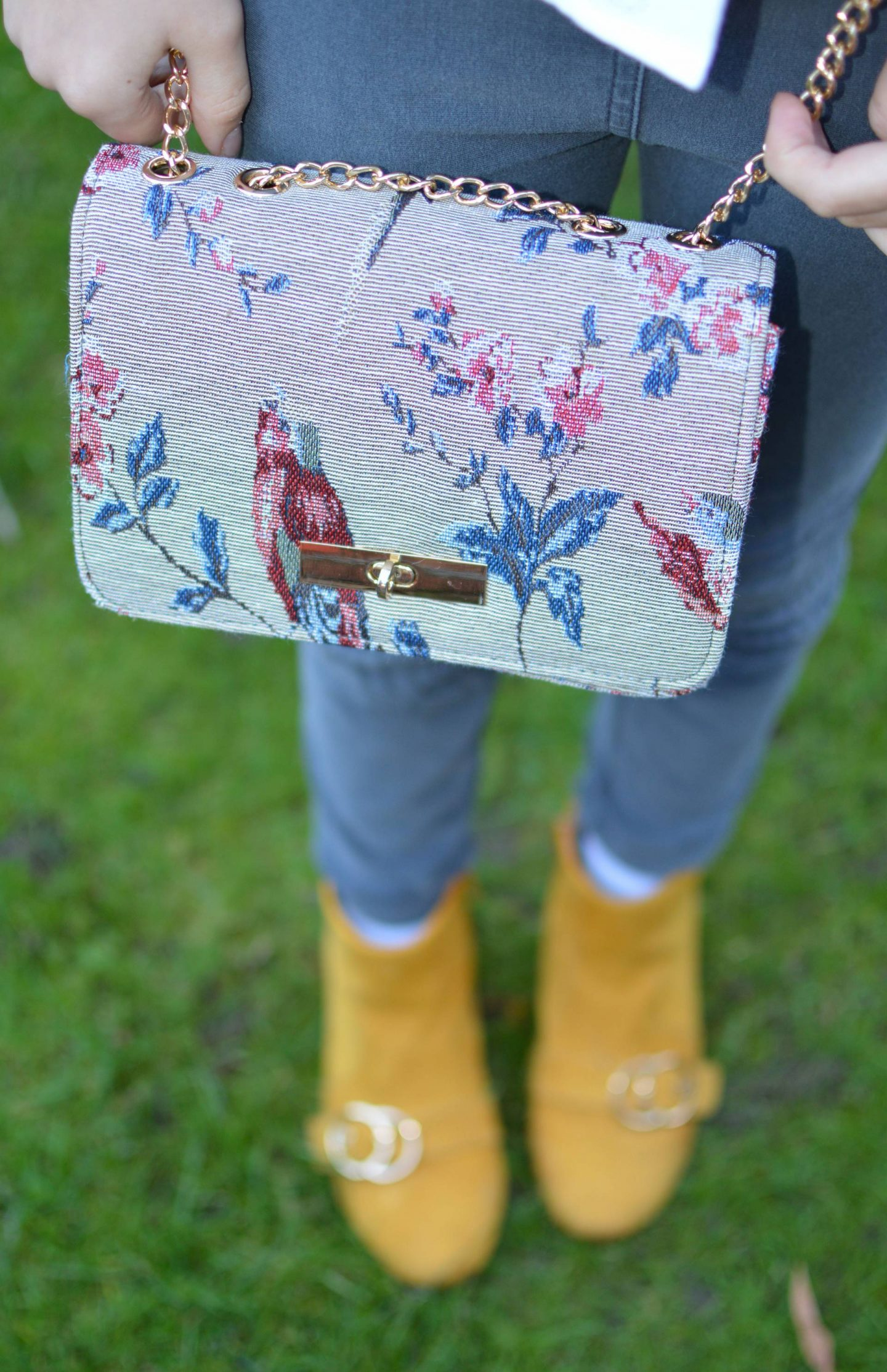 bird tapestry chain handle bag