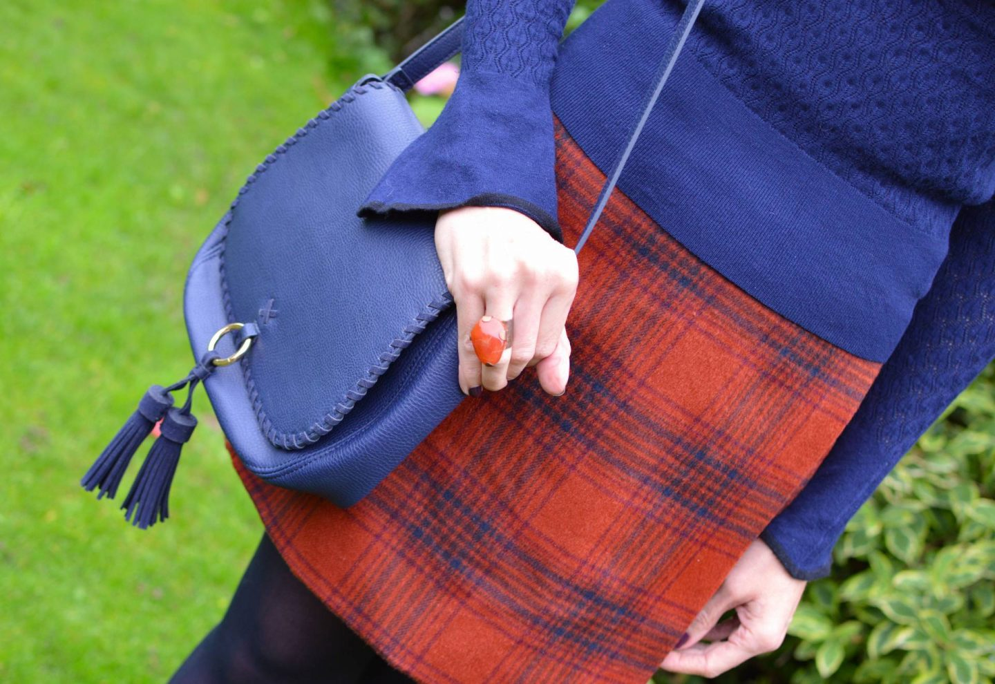 Rust Checked Wrap Skirt and Navy Sweater, Laura Ashley navy crossbody bag