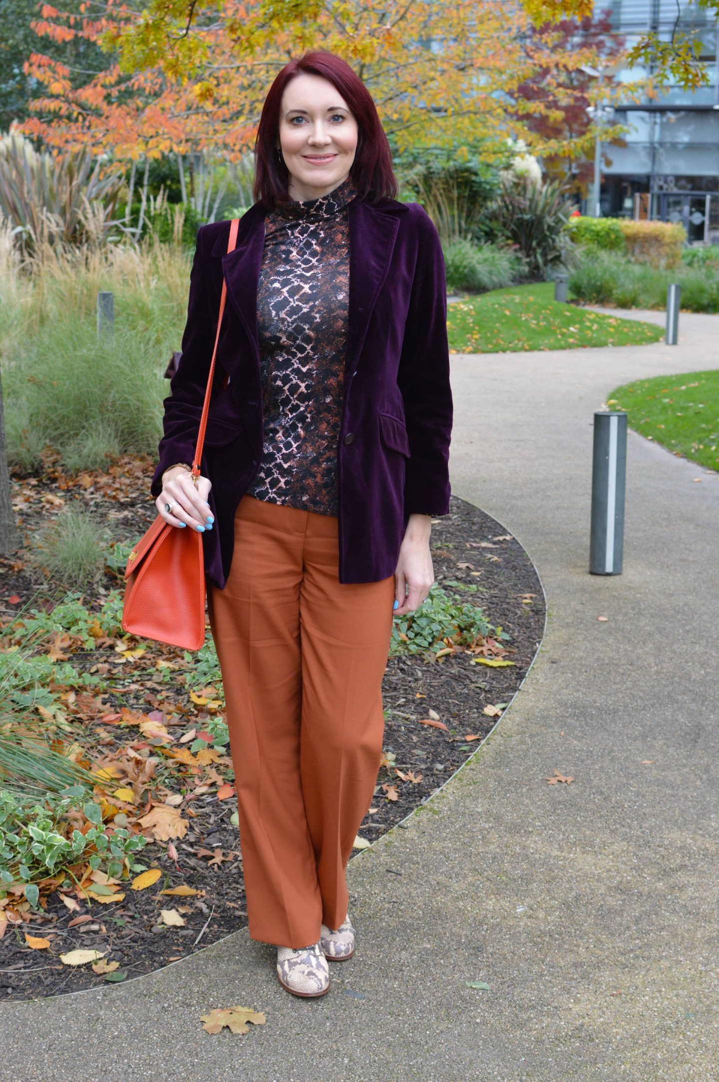 My Favourite Autumn Trend - October's Style Not Age, Next aubergine velvet blazer, Hobbs orange trousers