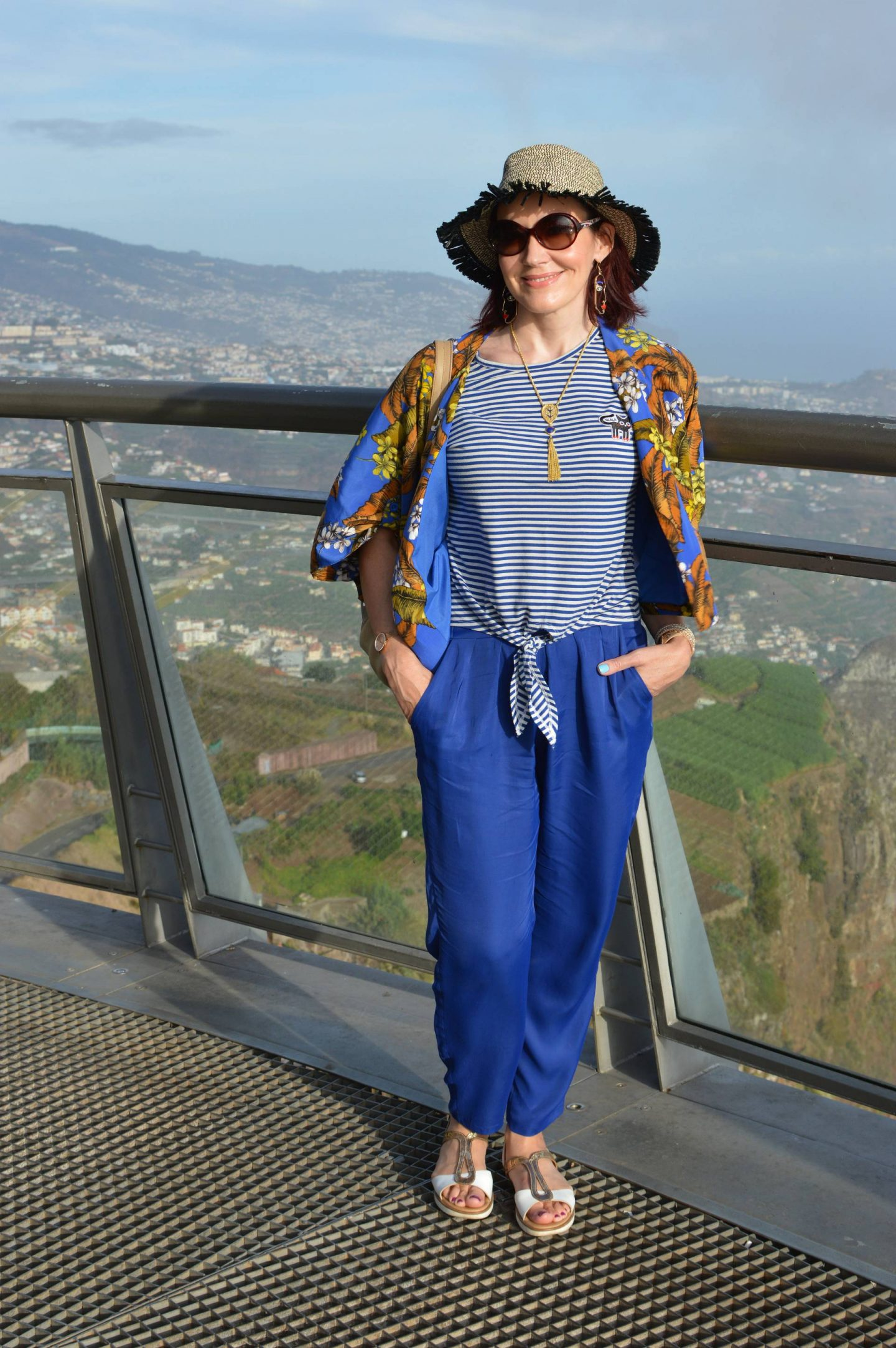 Stripes and Floral Print - Exploring Madeira, Cabo Girão