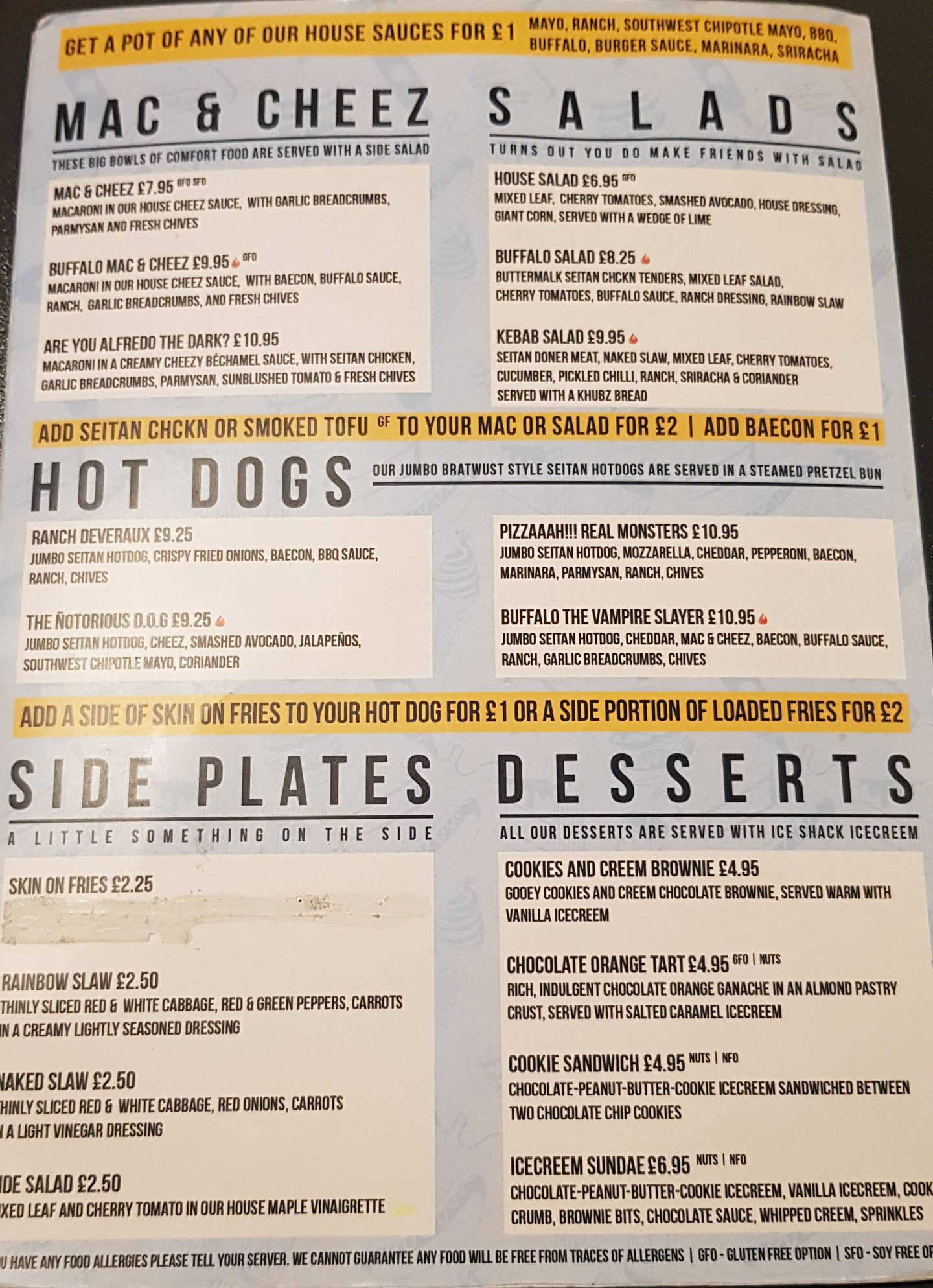 V-Rev vegan diner menu