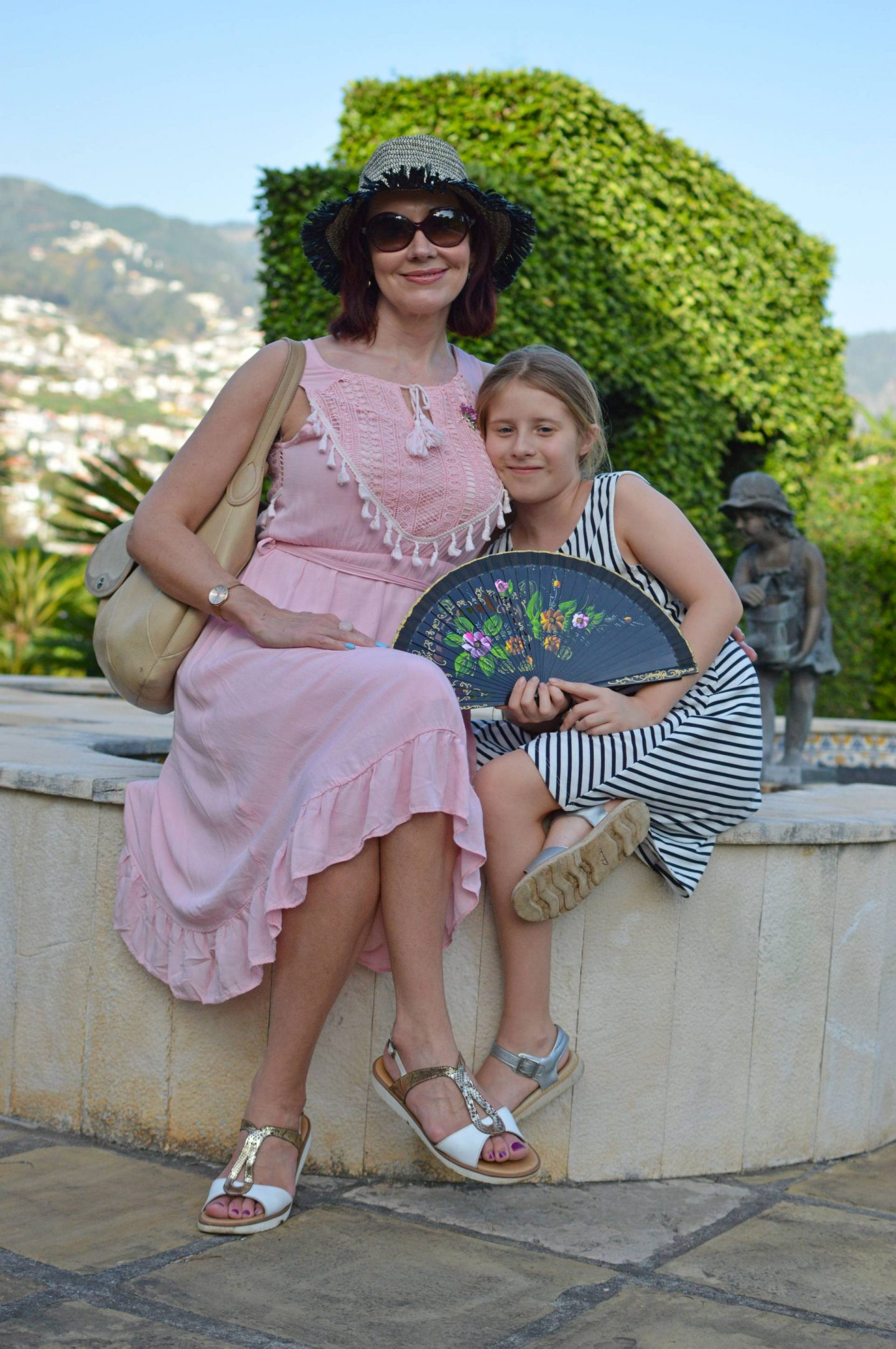 pink cotton Oeyes sundress, sightseeing in Madeira, Quinta Jardins do Lago hotel garden