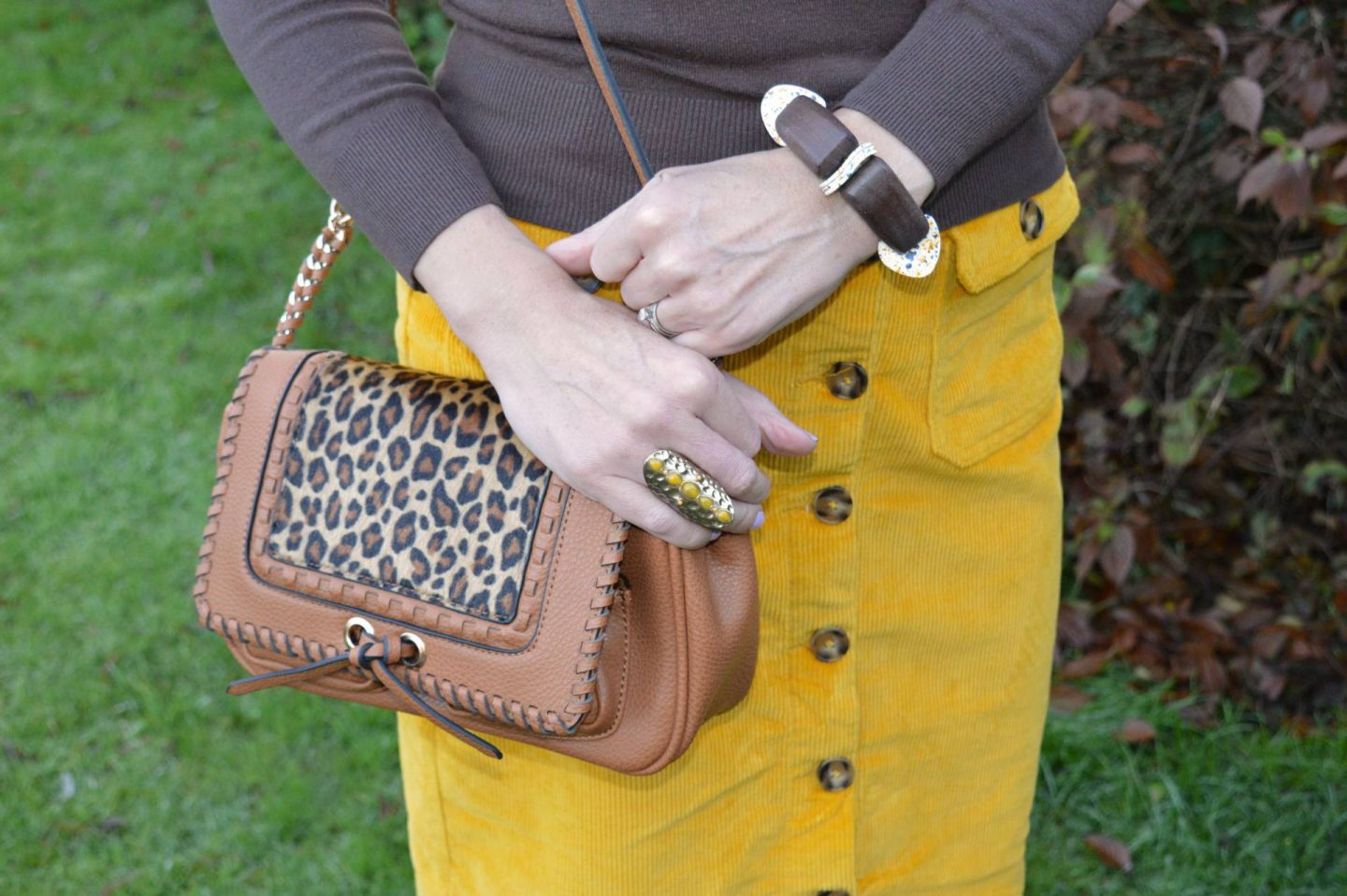 Scottage leopard print bsg, yellow C&A cord skirt