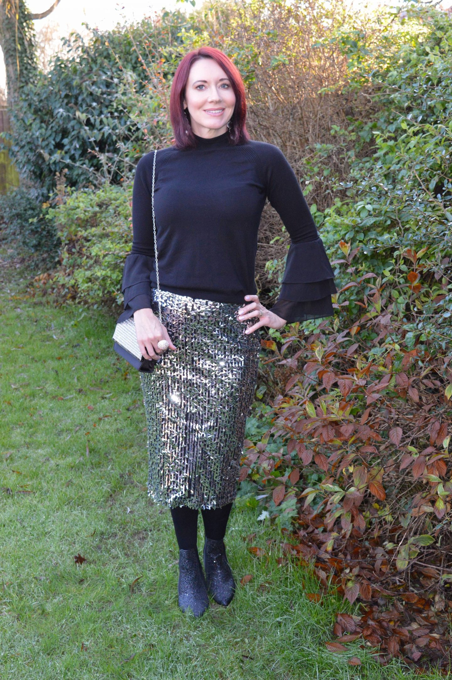 Sparkly Festive Holiday Outfit, silver sequin skirt