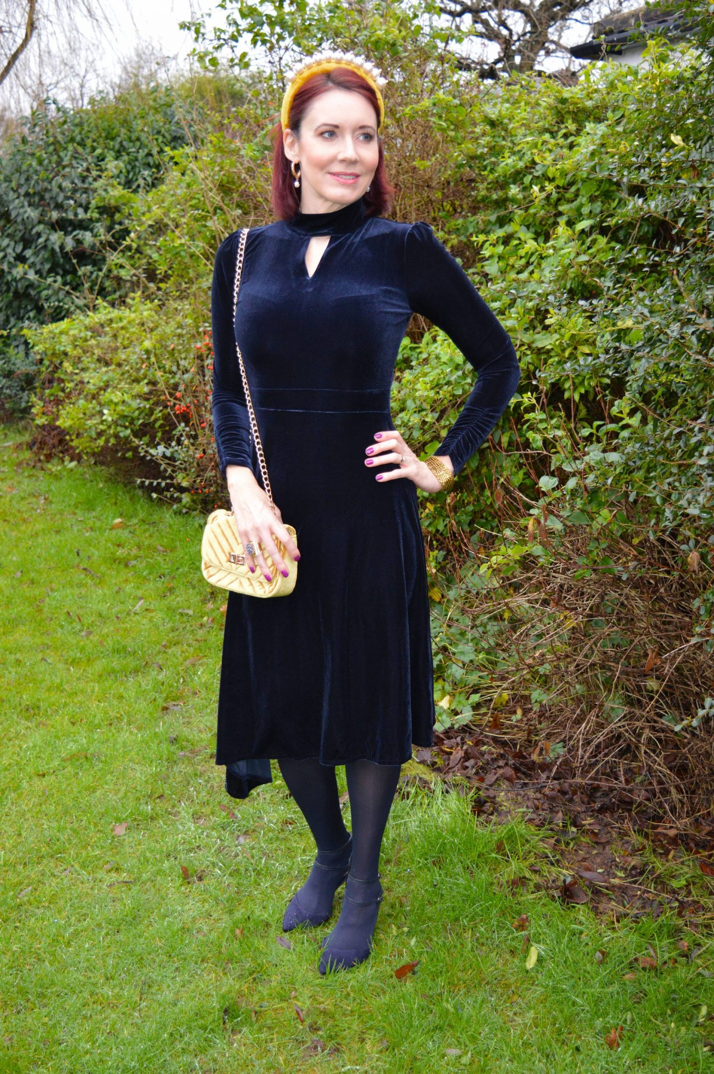 Winter Opulence: December's Style Not Age, Oasis navy velvet dress, Asos mustard velvet pearl headband