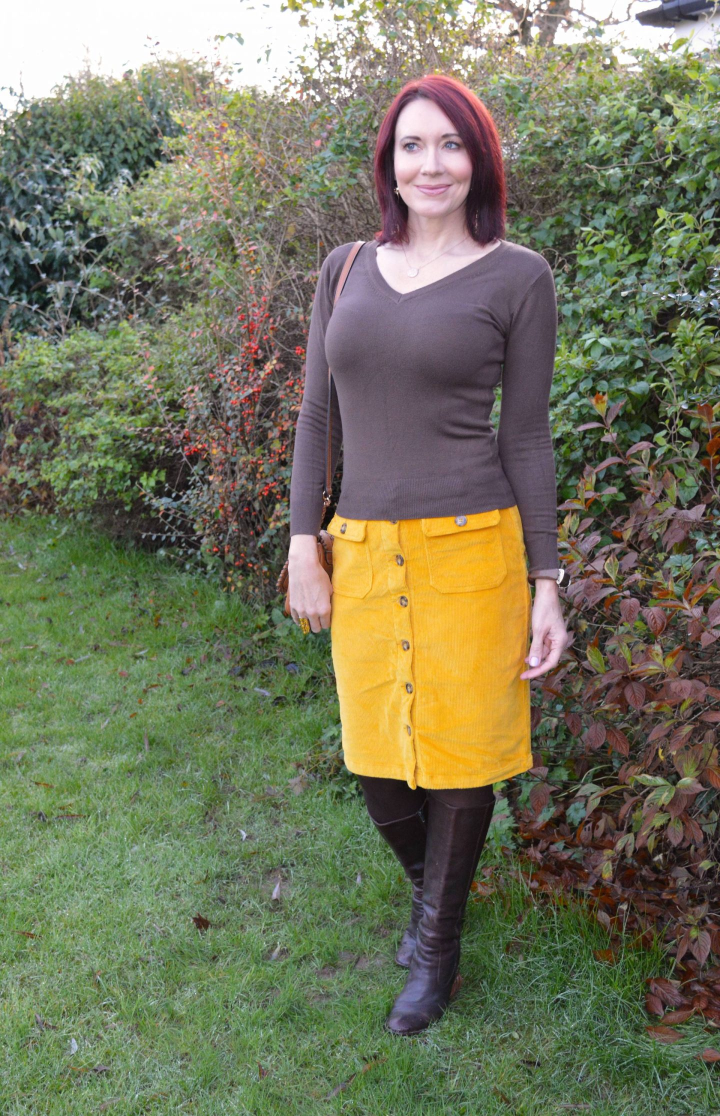 Bright Yellow Cord Skirt and Chocolate Brown jumper