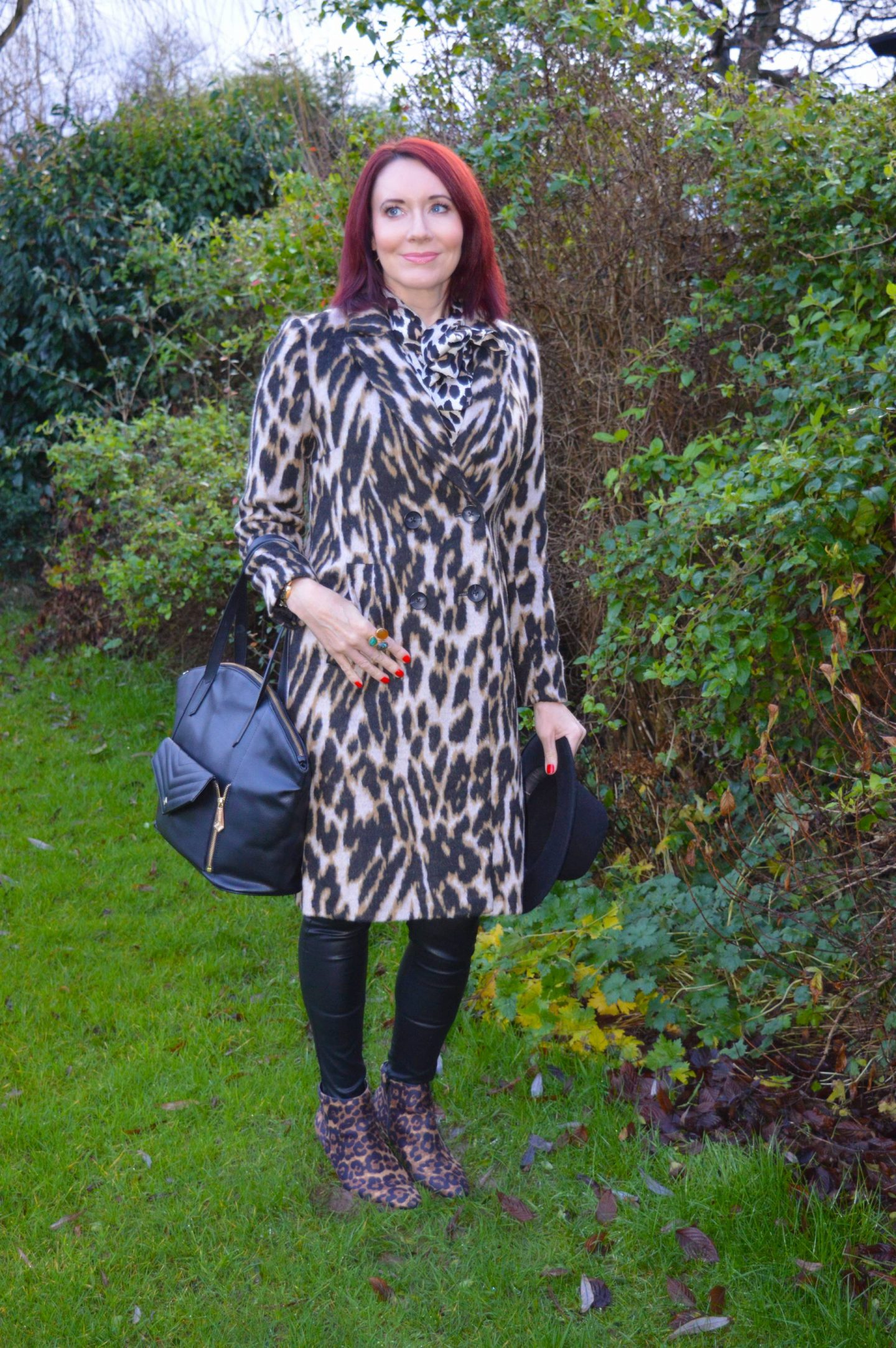 SilkFred leopard print blouse, Frontrow faux leather jeans, Jennifer Hamley vegan leather bag