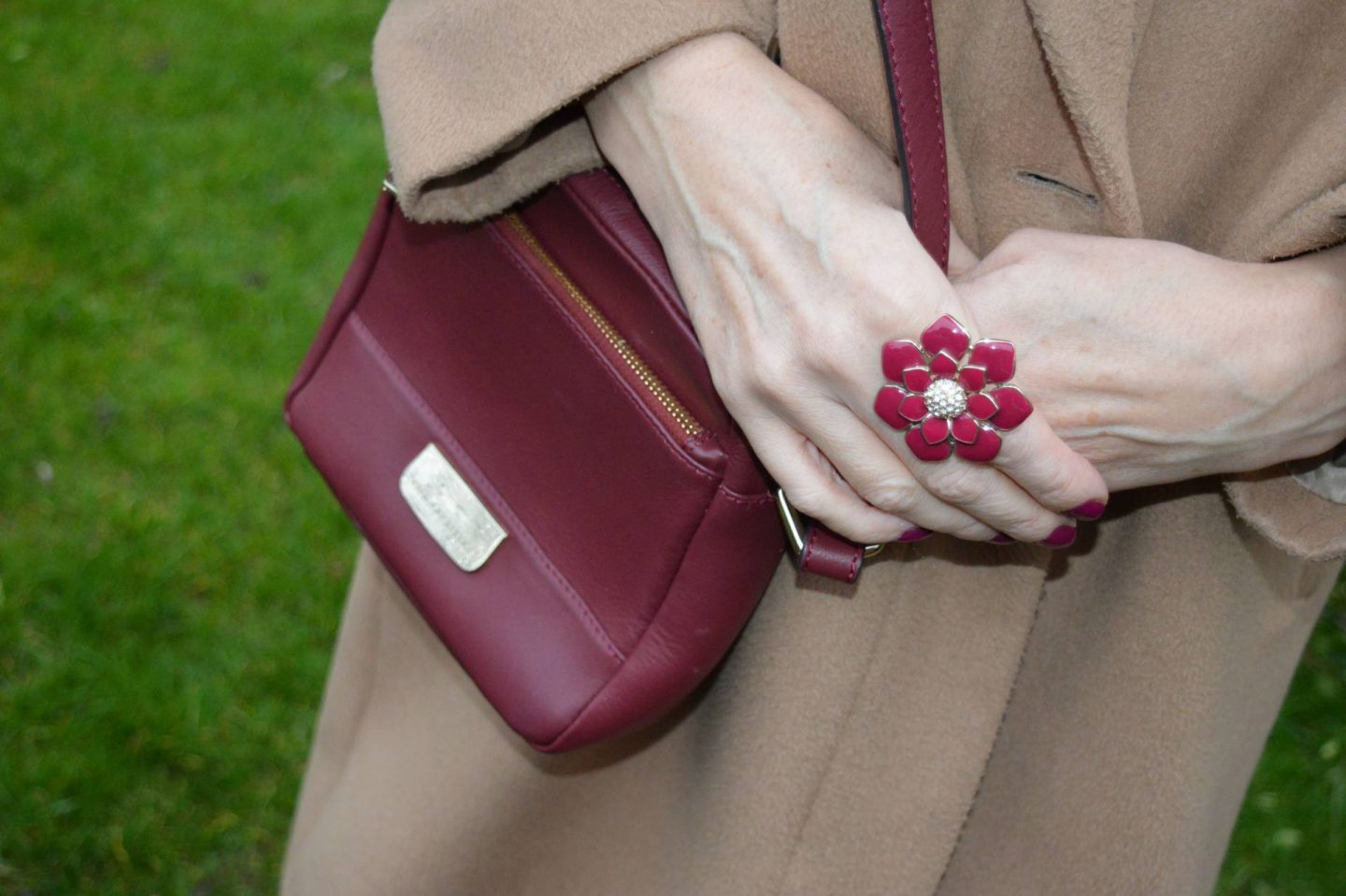 enamel flower ring, Paul Costelloe burgundy crossbody bag