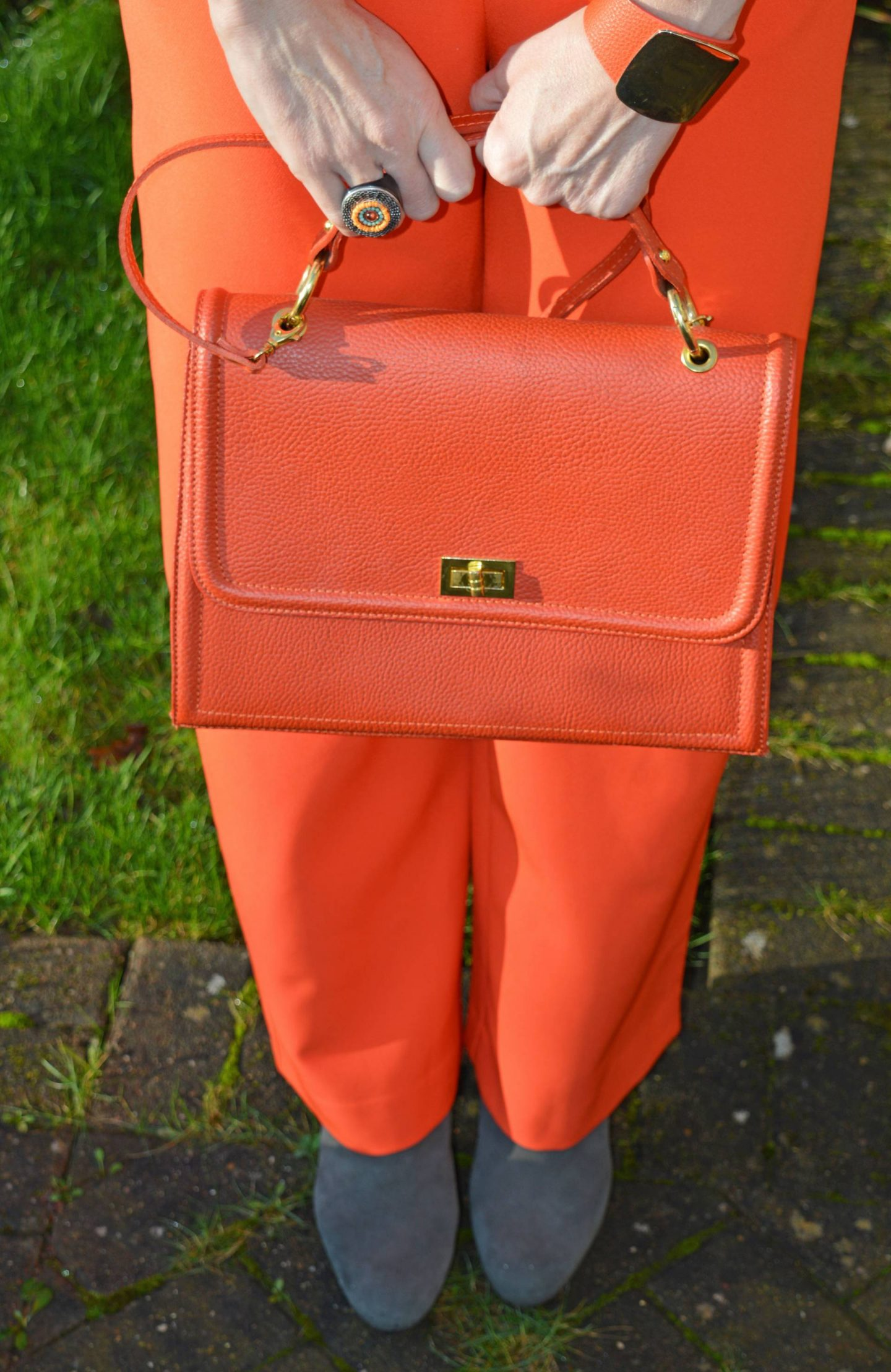 Orange Alexia bag, River Island orange trousers