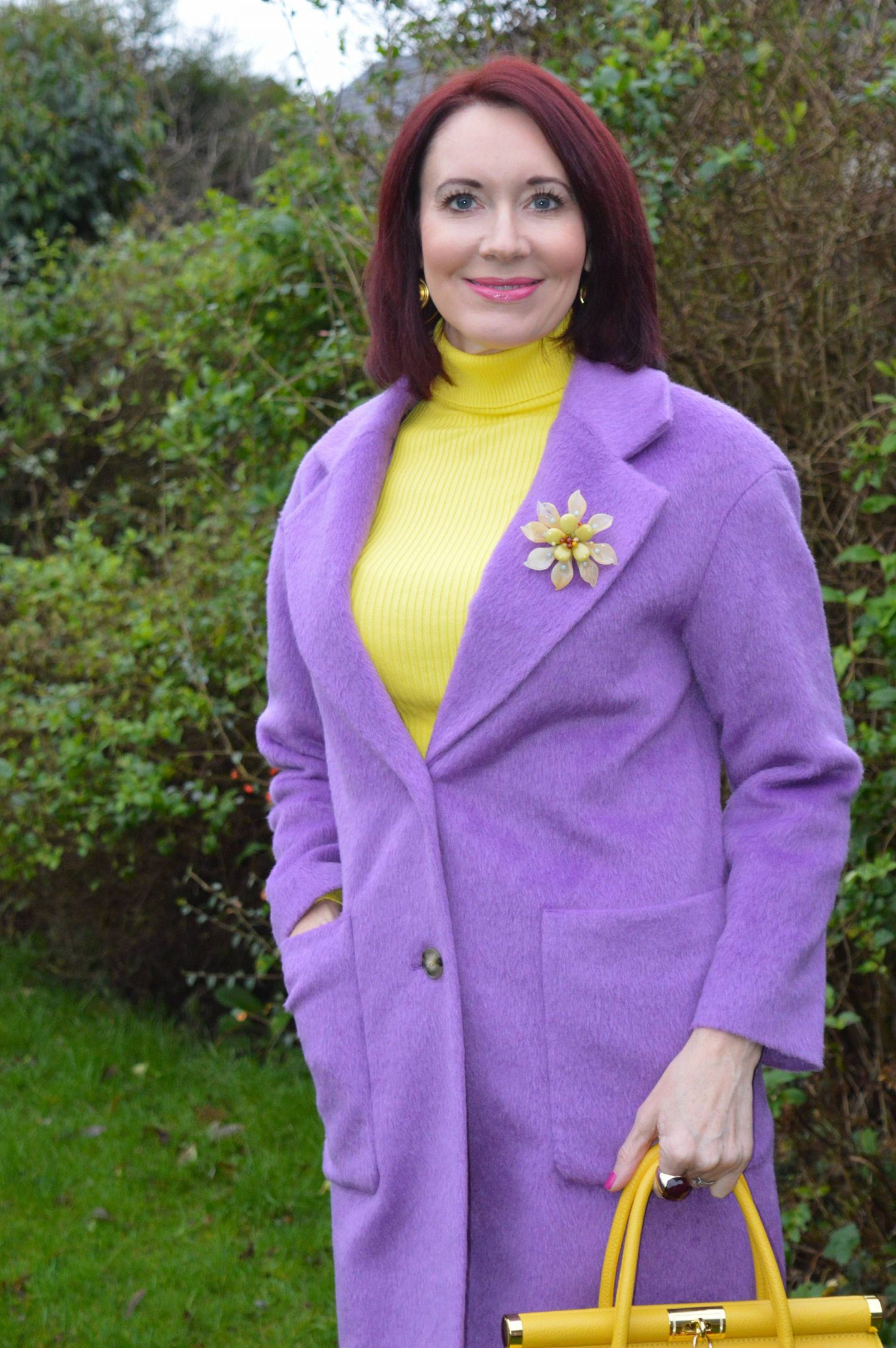 Marks and Spencer lavender coat, New Look yellow ribbed jumper