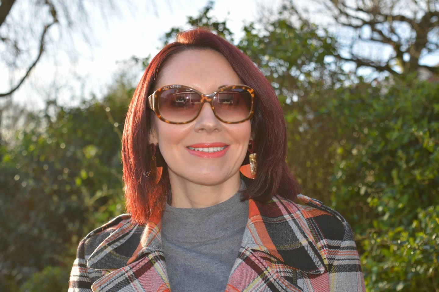 Just Cavalli sunglasses, French Connection tartan jacket