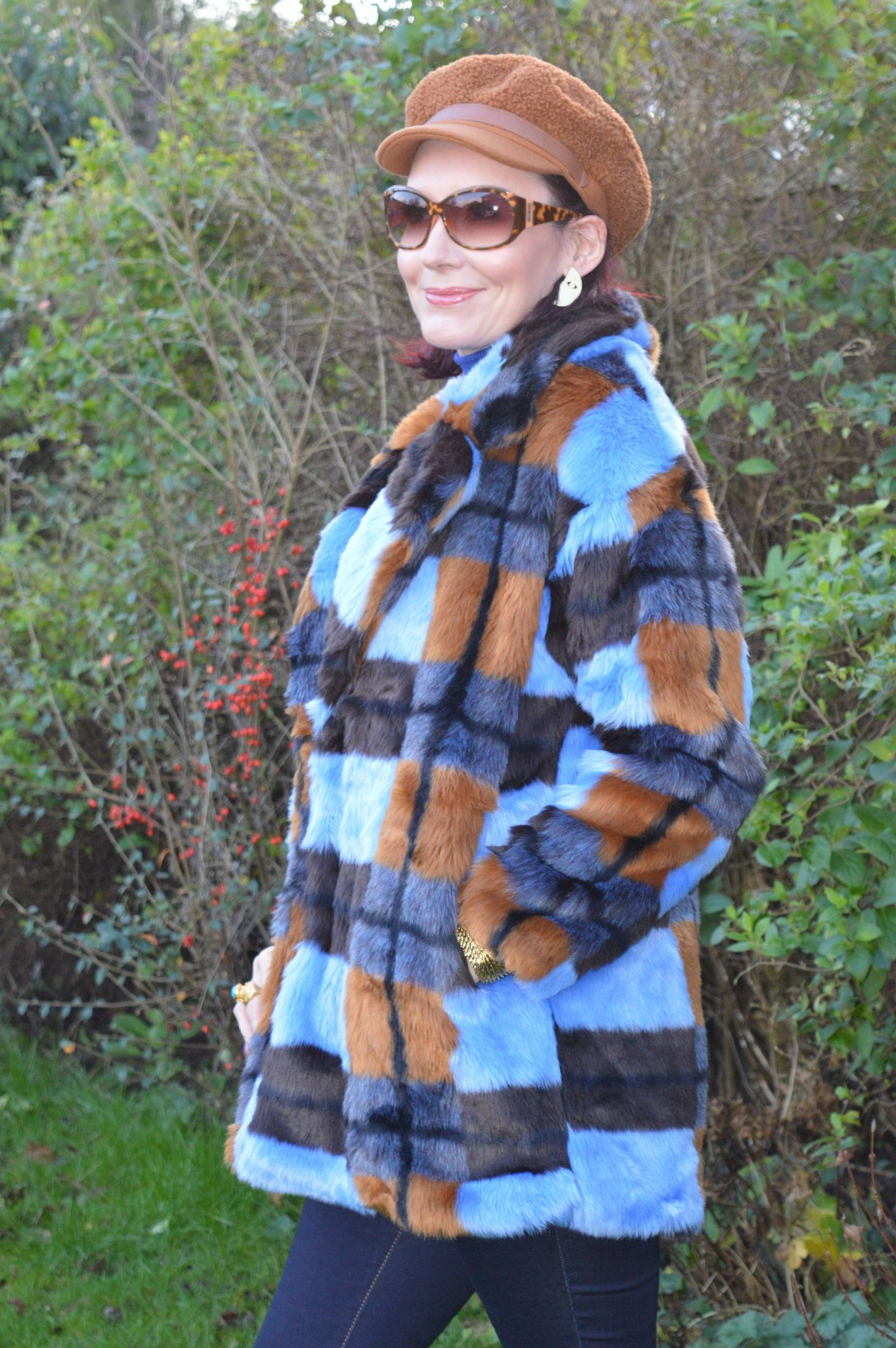 New Year Cozy Chic, Asos faux fur coat, Marks & Spencer brown baker boy hat