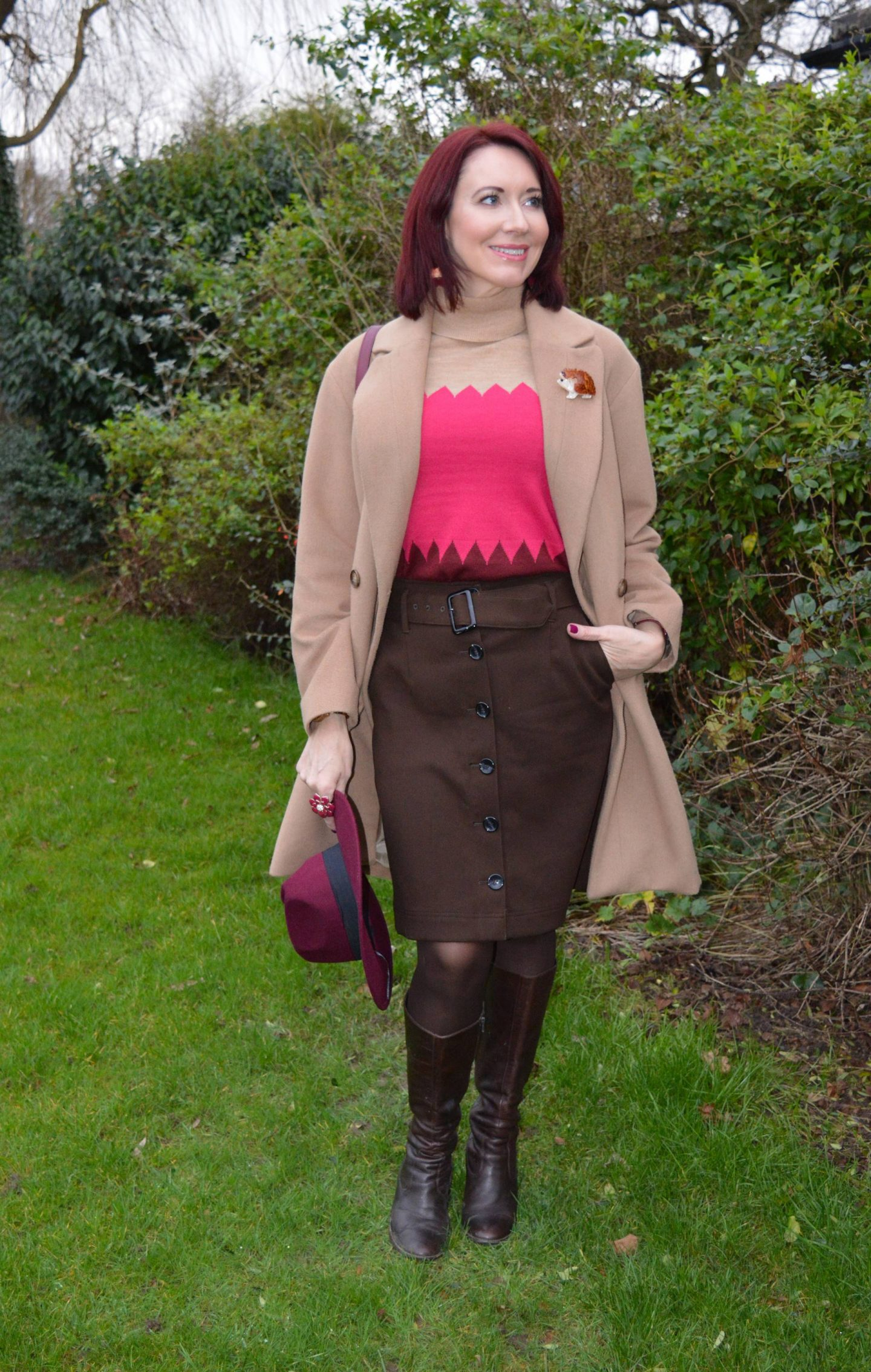 Neutrals and Berry Tones: Great Plains camel coat, Marks & Spencer brwon button up skirt