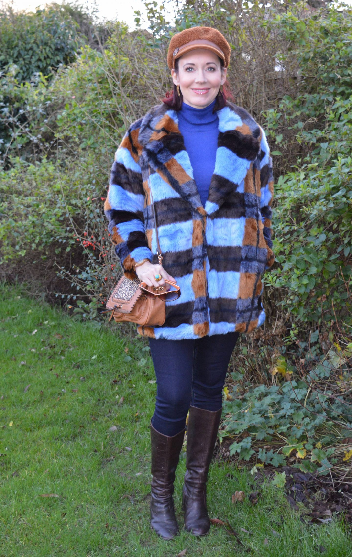 Asos faux fur coat, Scottage leopard print bag, Marks & Spencer brown baker boy hat
