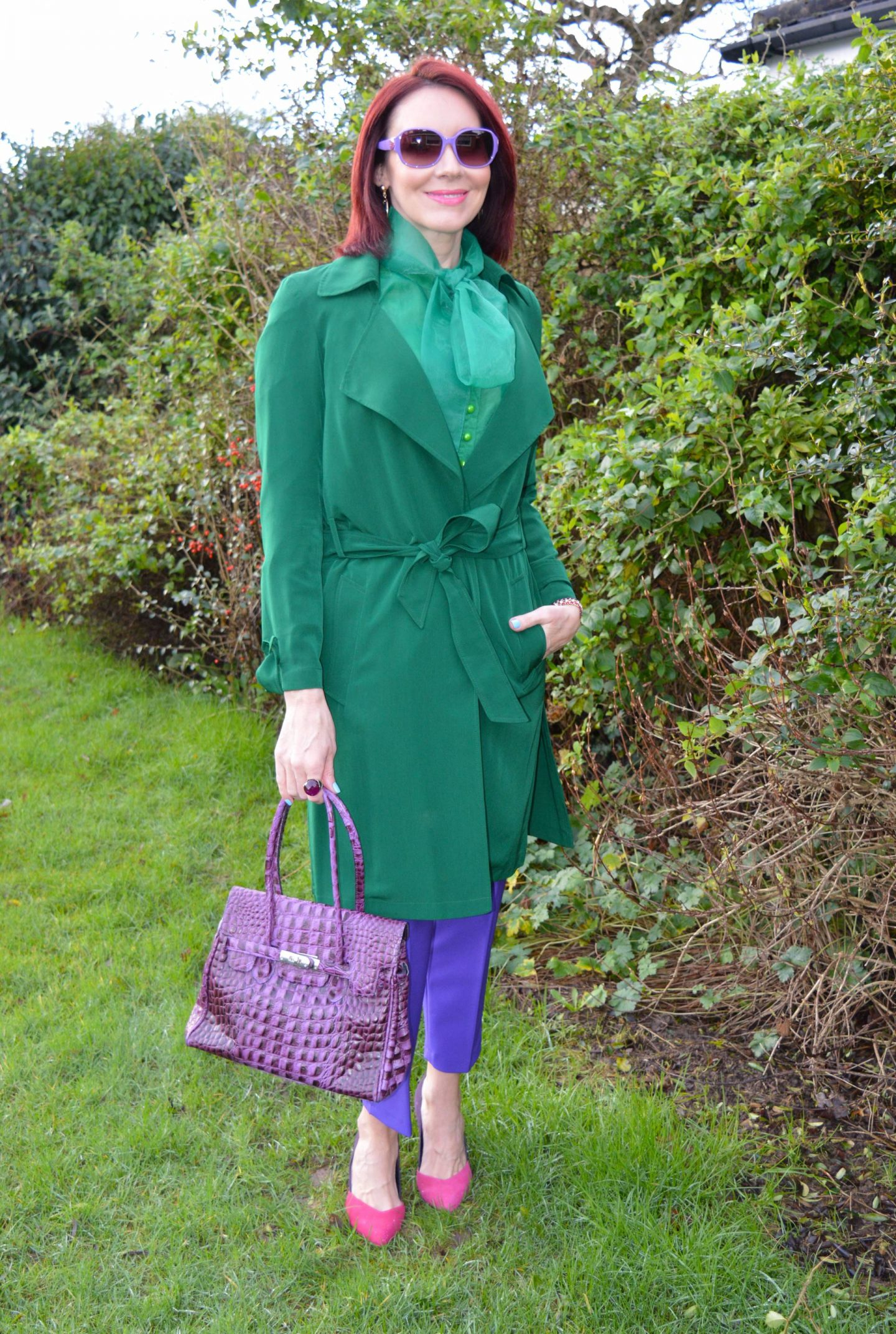 Styling Glorious Jewel Brights, emerald green Papaya trenchcoat, green organza bow blouse, Asos purple trousers