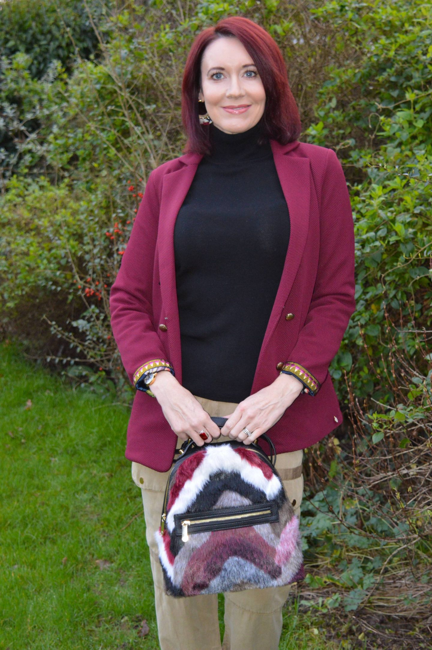 Pom Amsterdam Jacket, River Island cargo trousers, faux fur backpack
