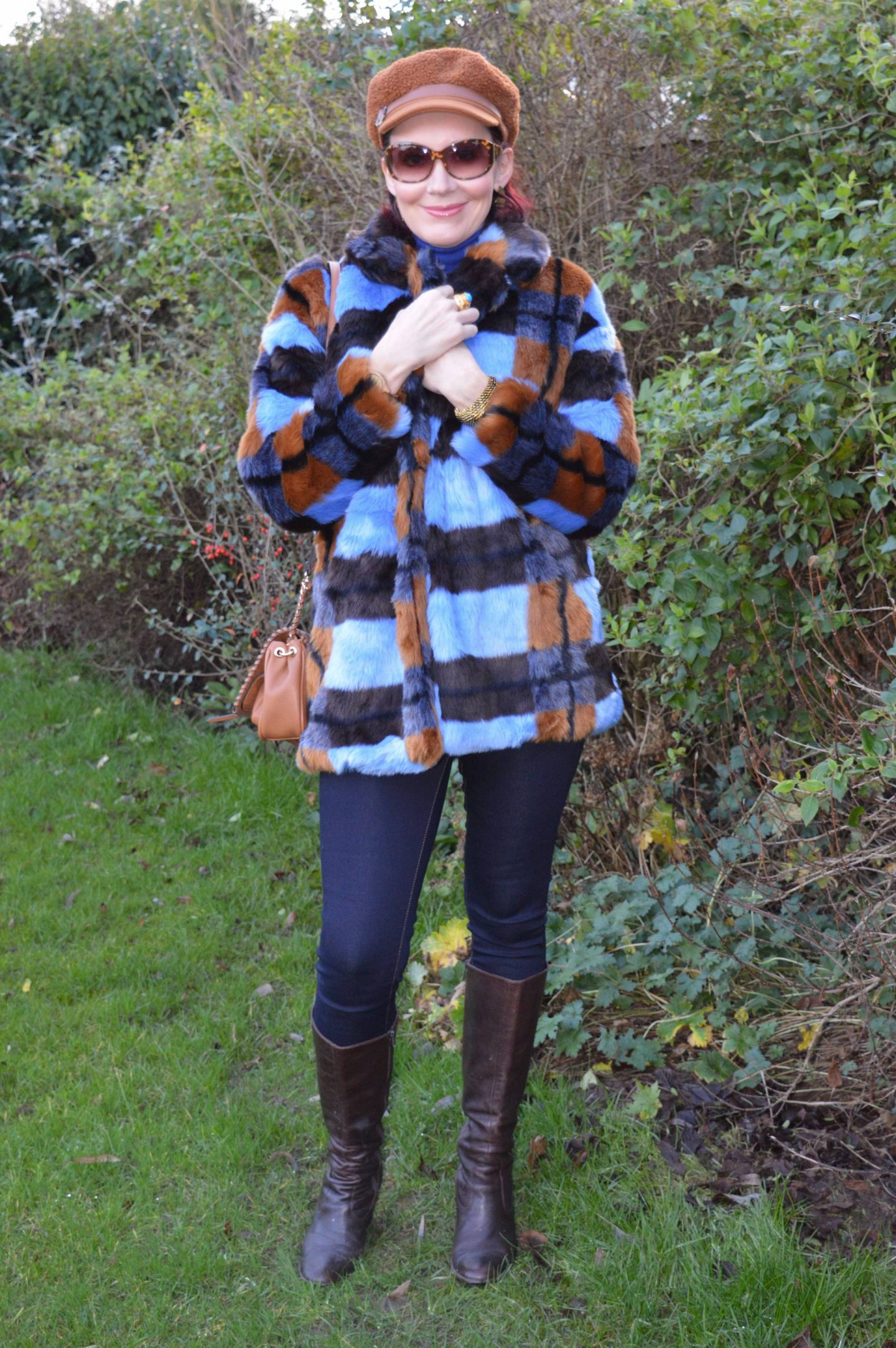 New Year Cozy Chic, Asos faux fur coat, Scottage leopard print bag, Marks & Spencer brown baker boy hat