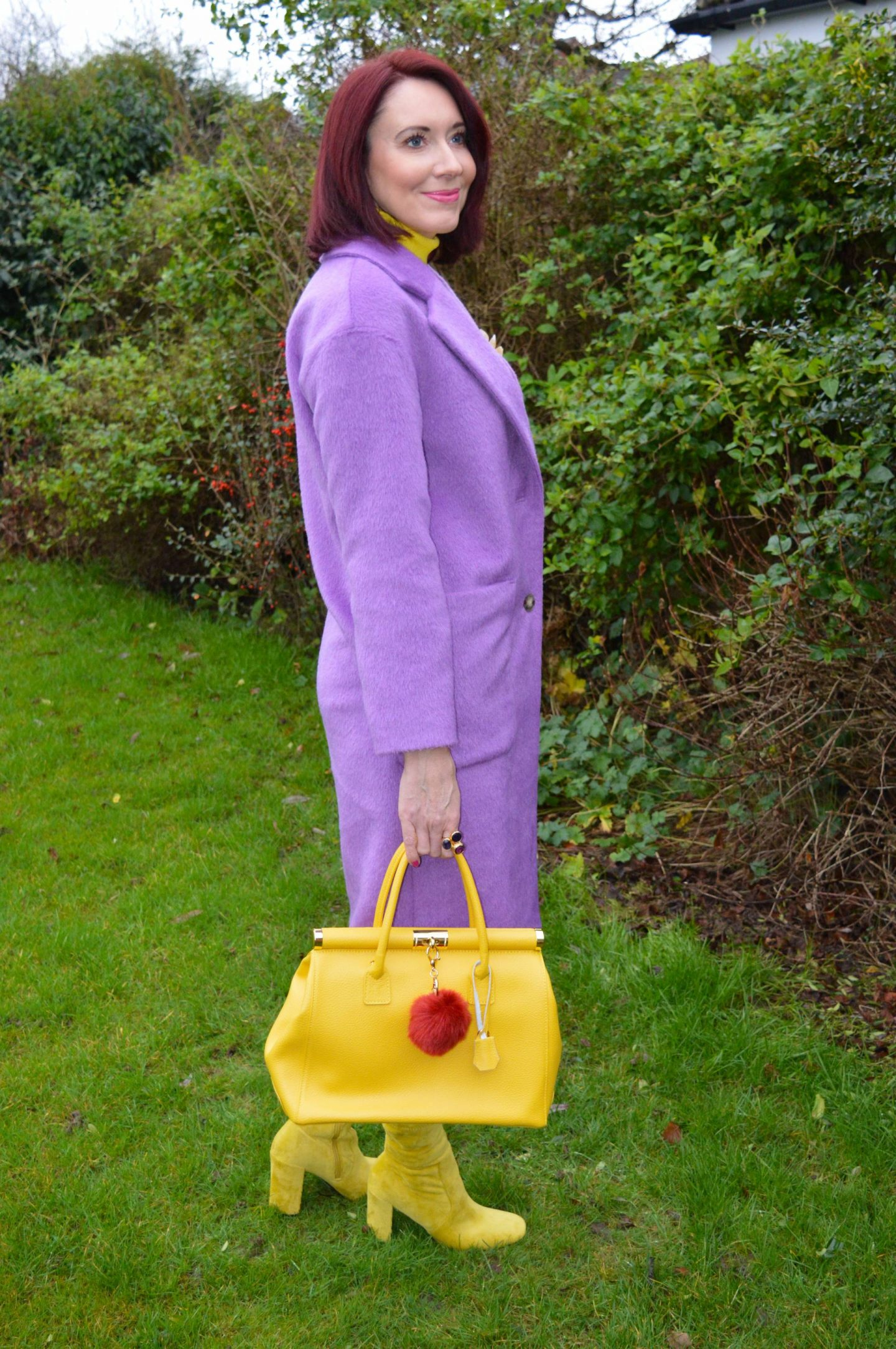 Lavender and Sunshine Yellow, Marks and Spencer lavender coat, New Look yellow ribbed jumper