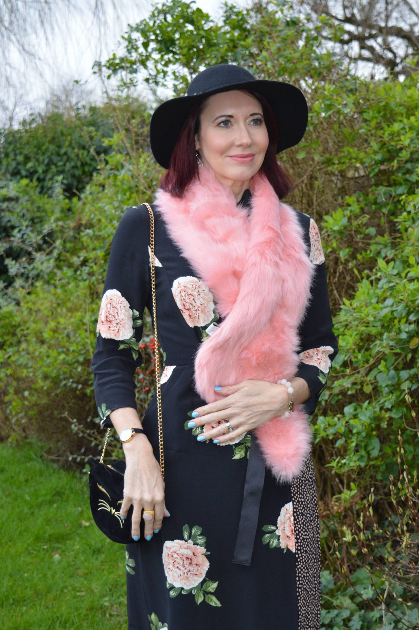 Nine Savannah Miller rose print dress, Skinny Dip pink faux fur scarf