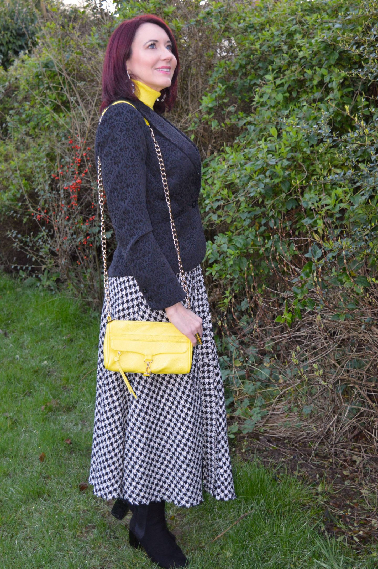 Zara black and white check skirt, New Look yellow roll neck jumper