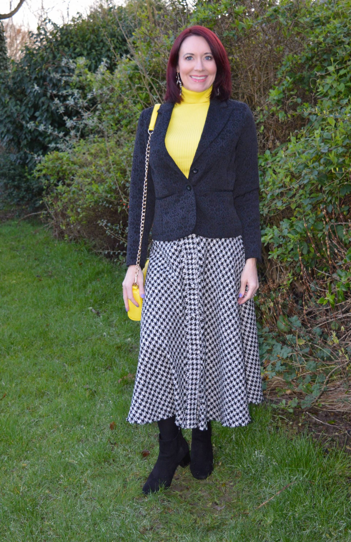 Zara houndstooth skirt, New Look bright yellow roll neck jumper