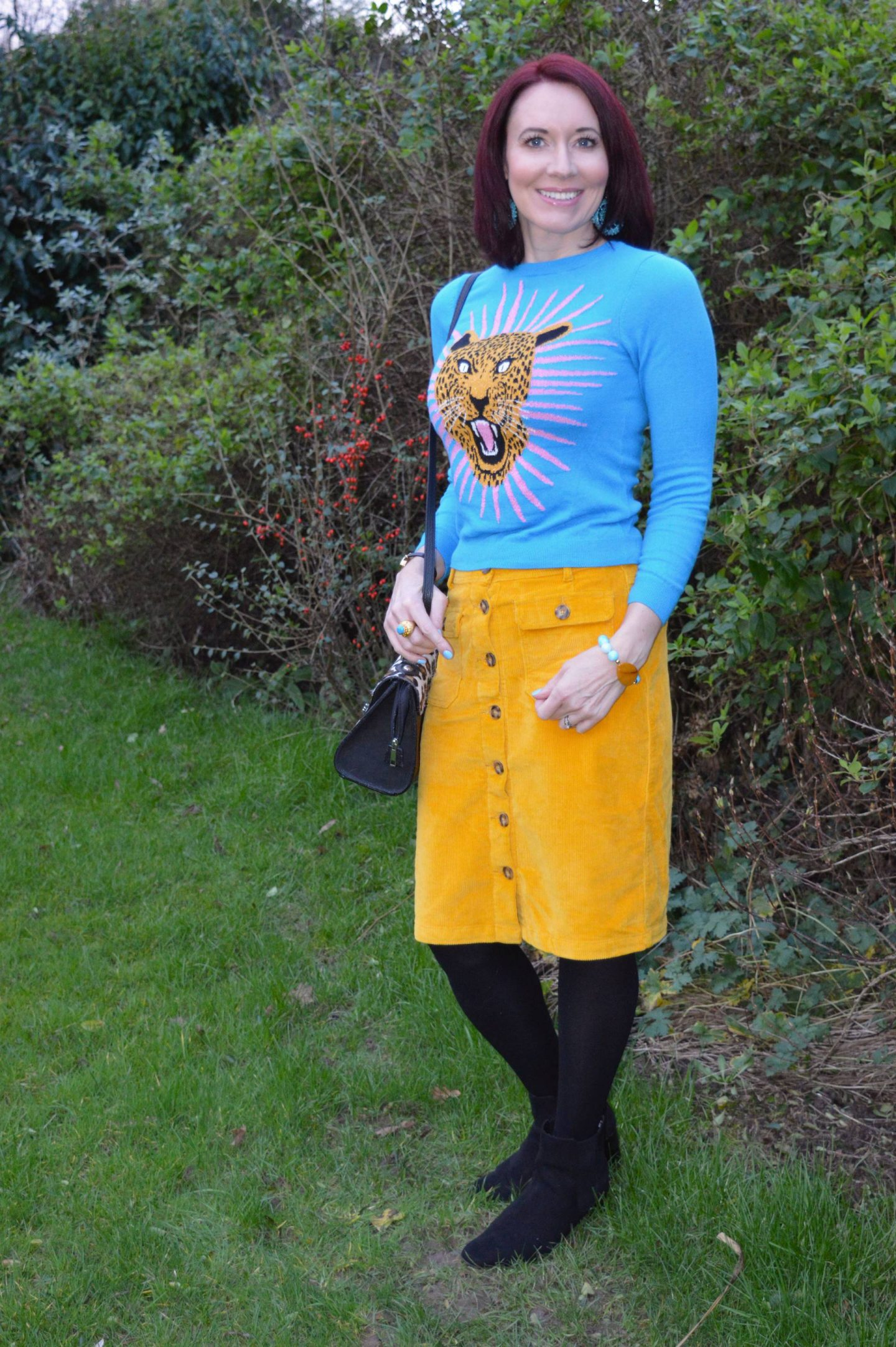 Monki Turquoise Jaguar Jumper and Yellow Cord Skirt