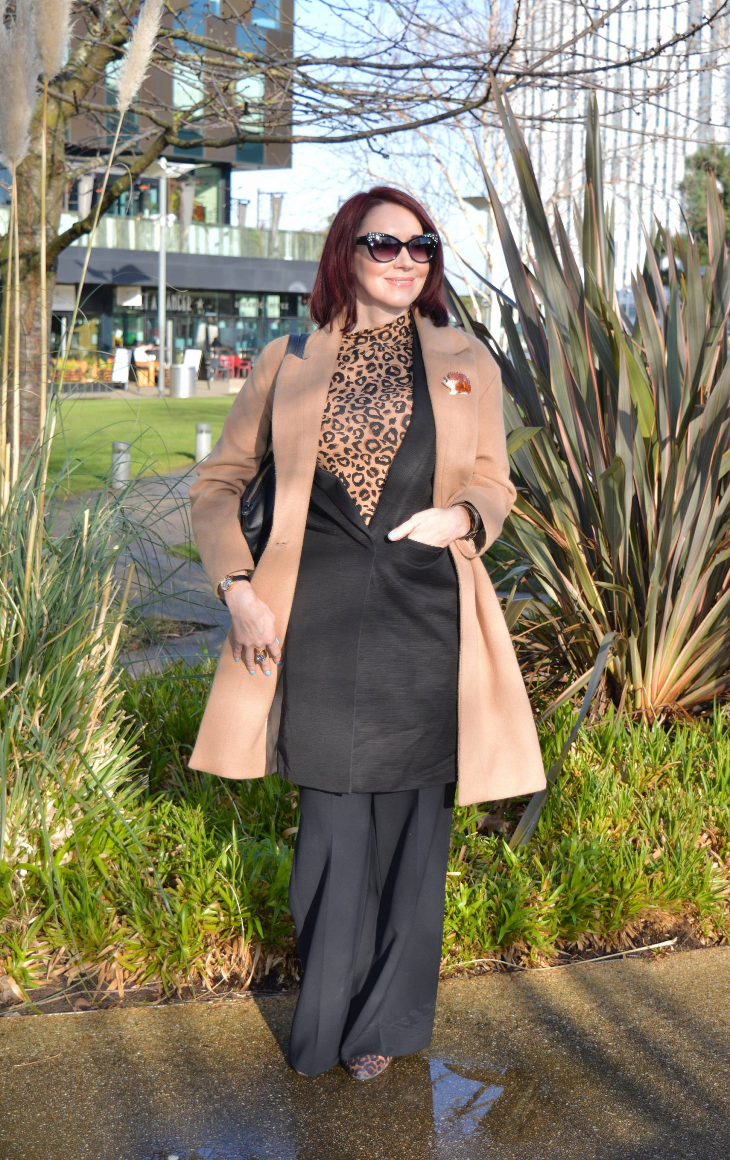 Classic Black and Leopard Print, Marks & Spencer black sleeveless jacket, Phase Eight long camel coat